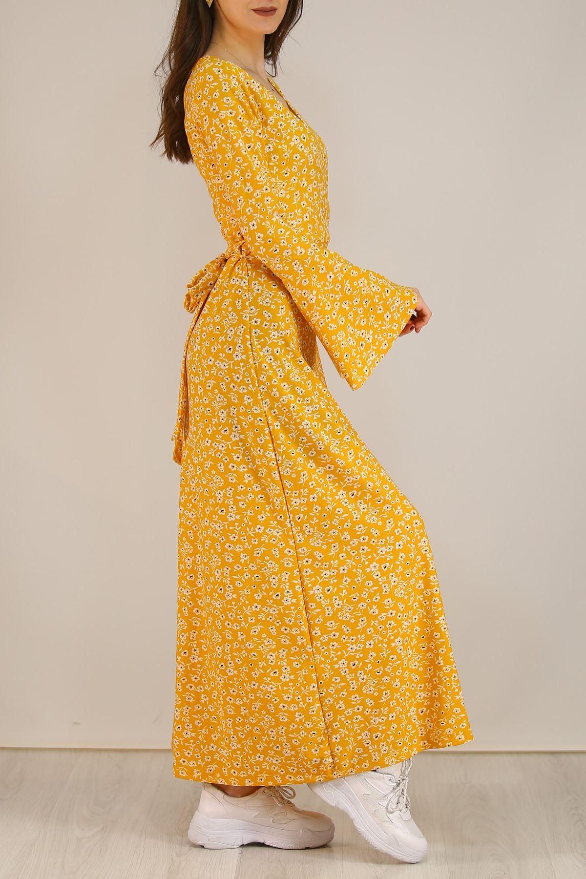 Kemerli Çiçekli Elbise Sarı - 5073.716.