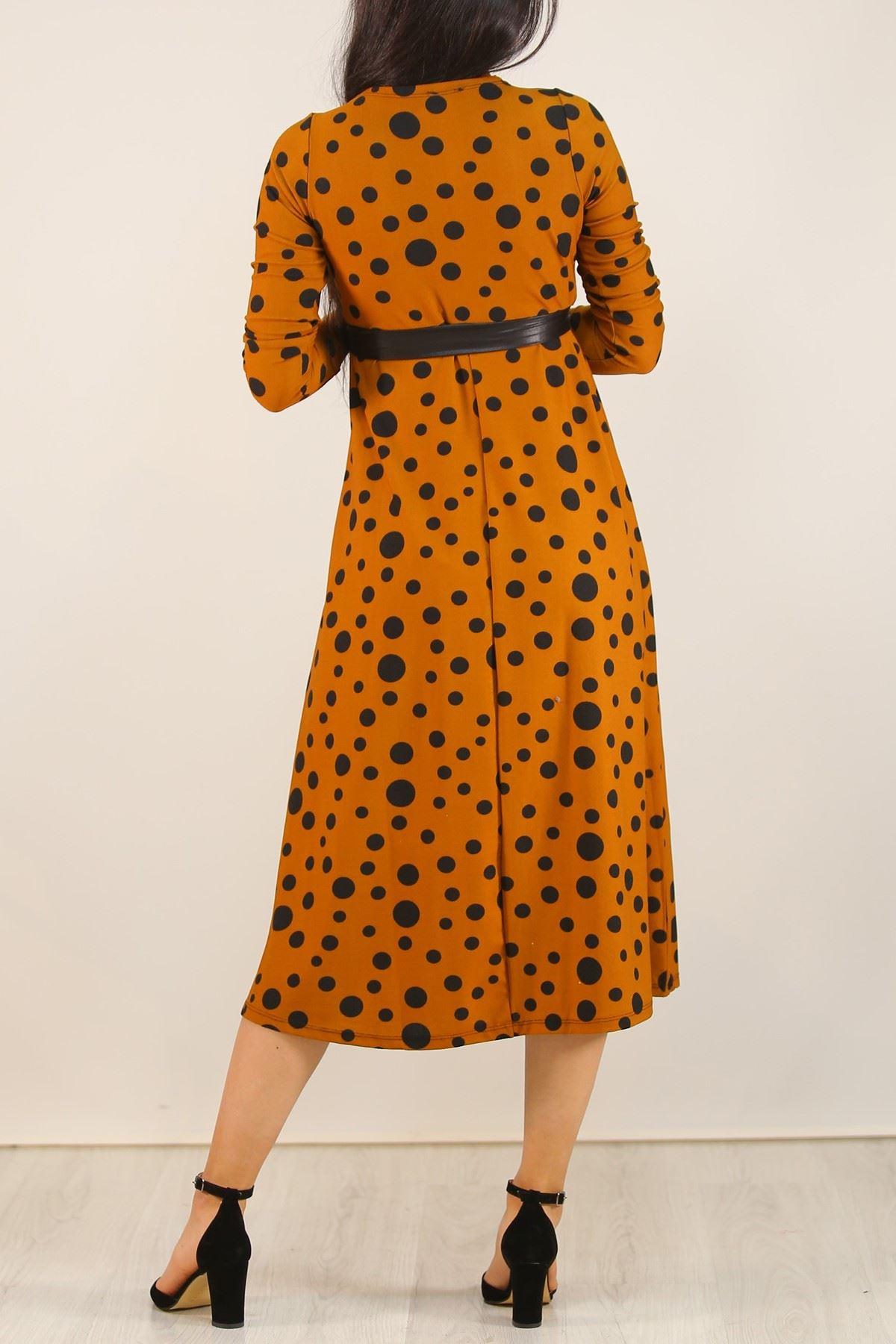 Desenli Elbise Tarçınpuanlı - 5075.716.