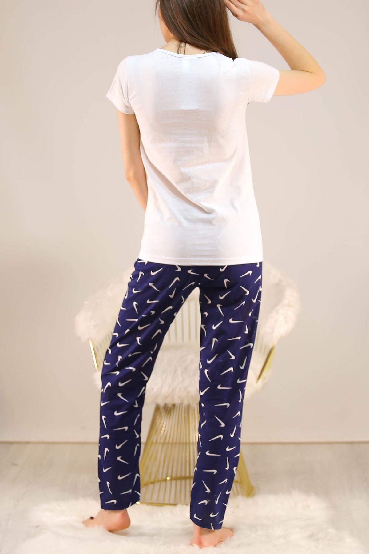 Baskılı Pijama Takımı Beyazlaci - 4714.102.