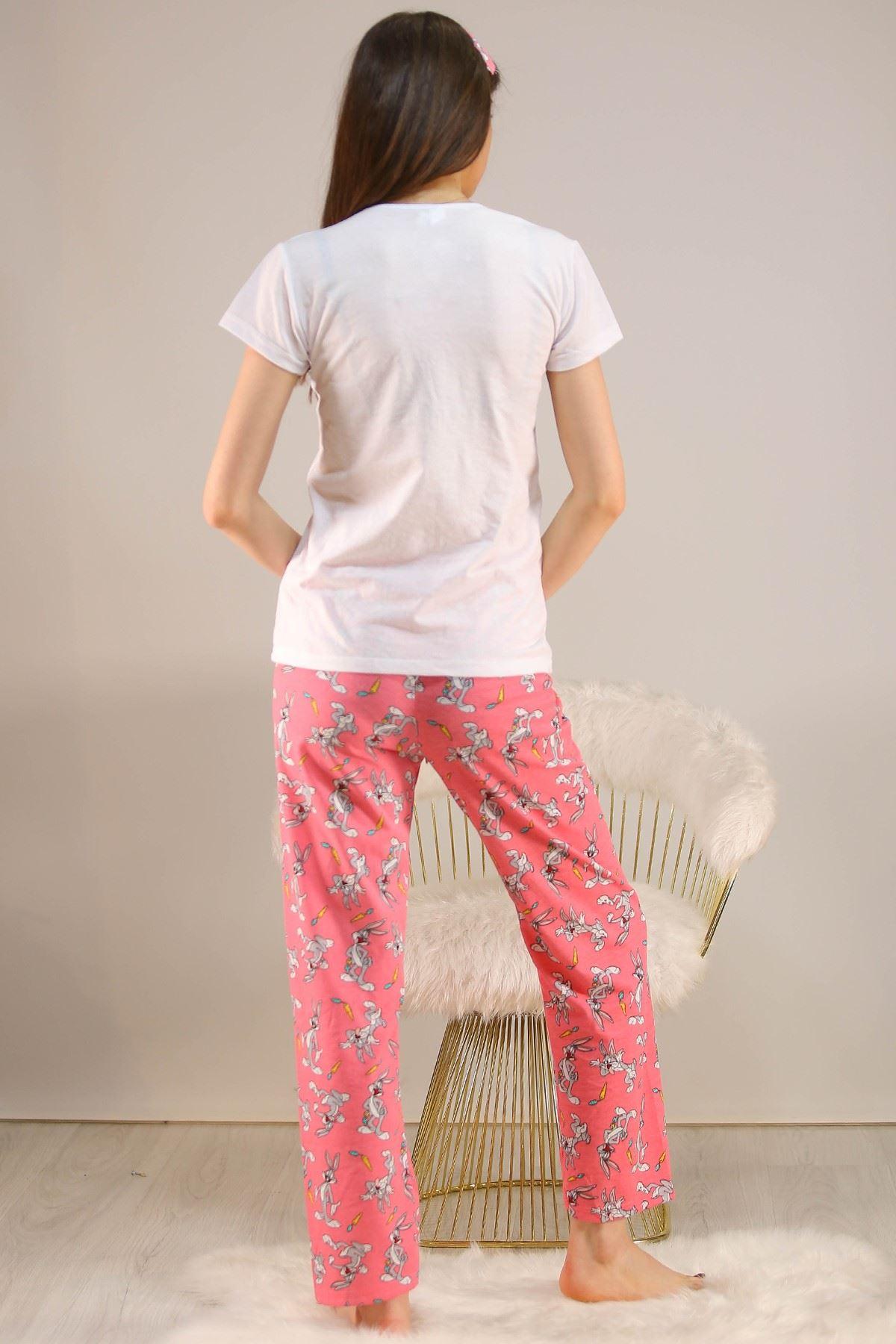 Baskılı Pijama Takımı Beyaz - 5149.102.