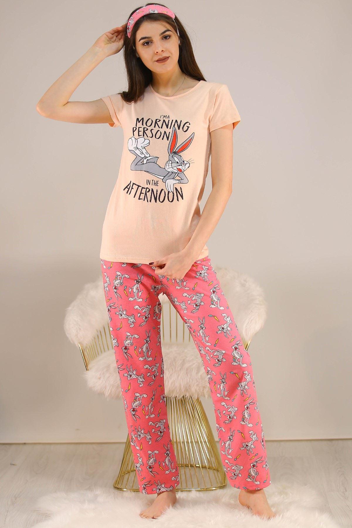 Baskılı Pijama Takımı Pudra - 5149.102.