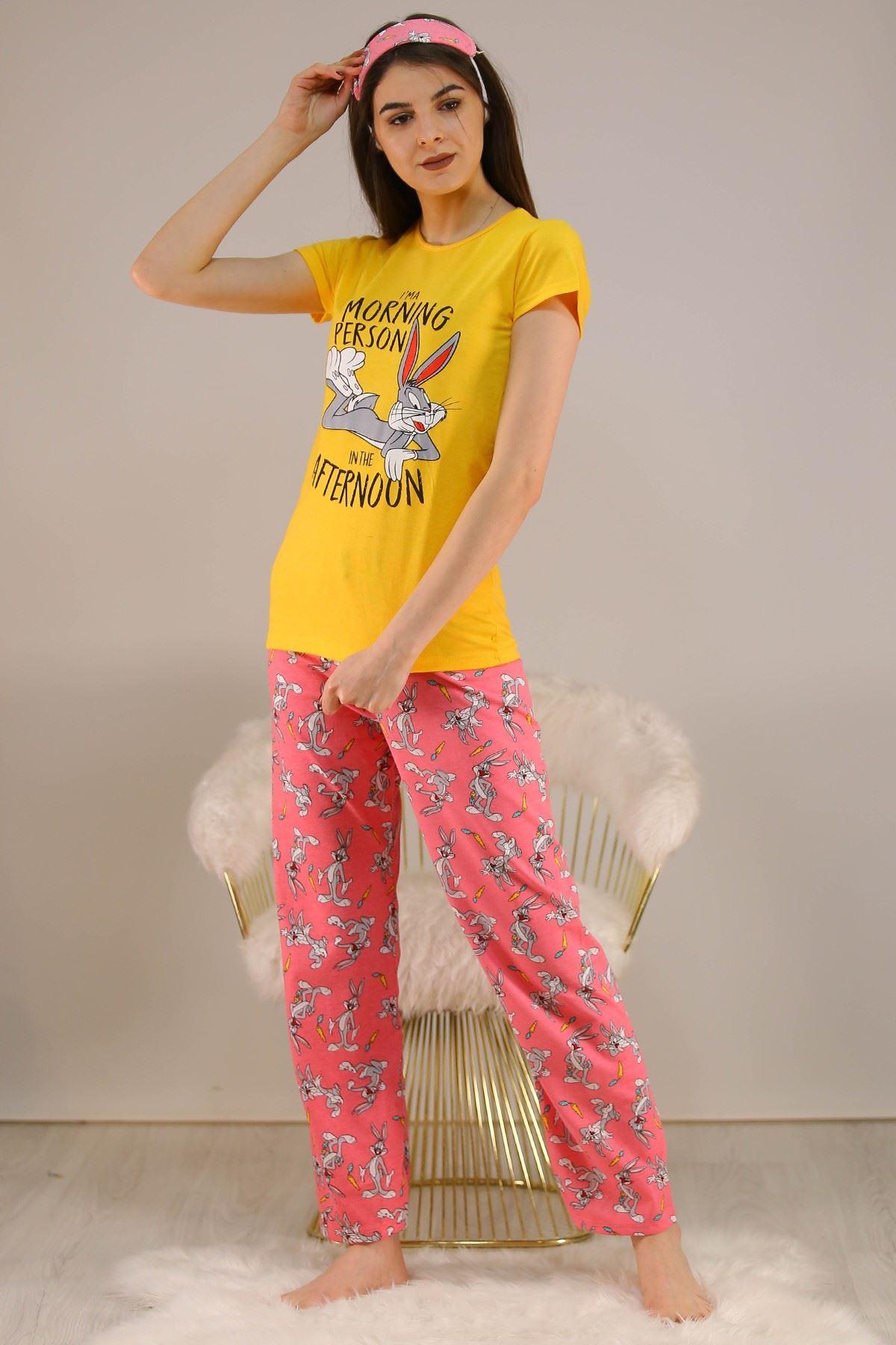 Baskılı Pijama Takımı Sarı - 5149.102.