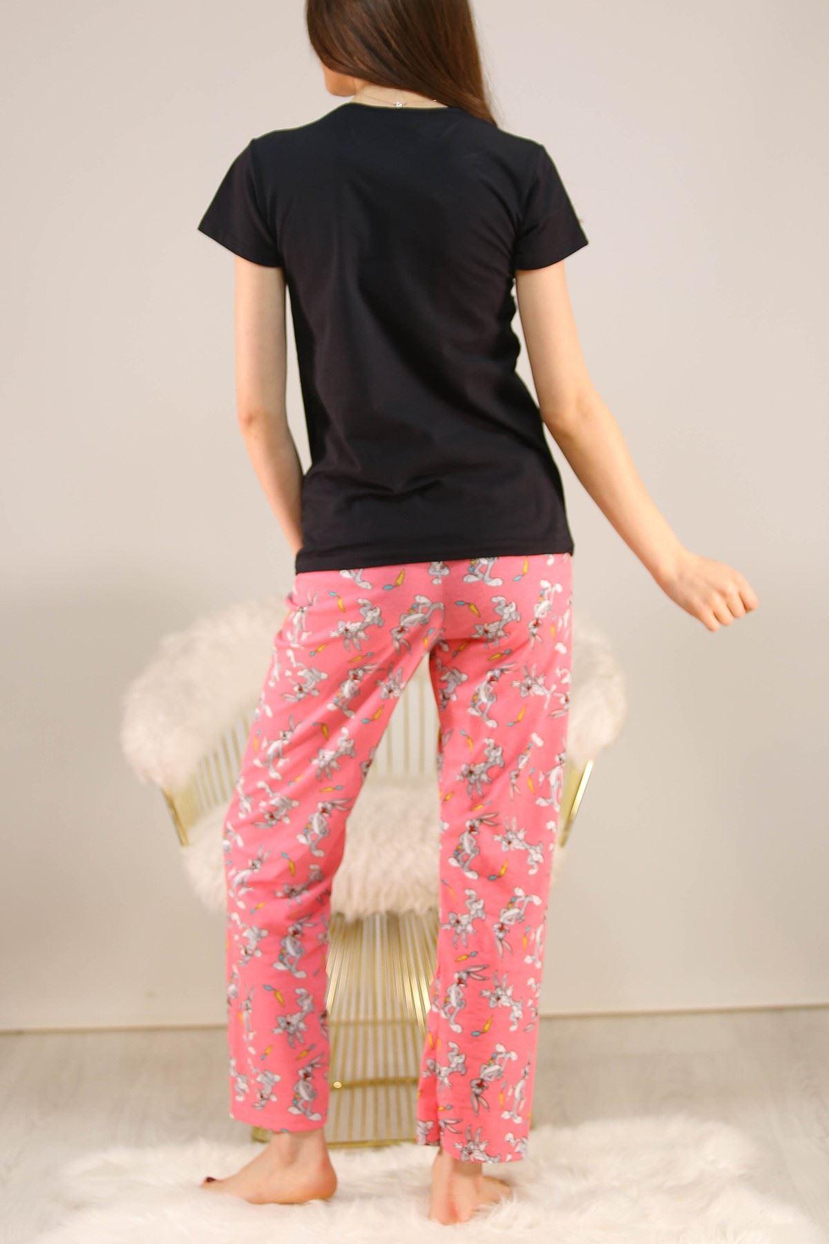 Baskılı Pijama Takımı Siyah - 5149.102.