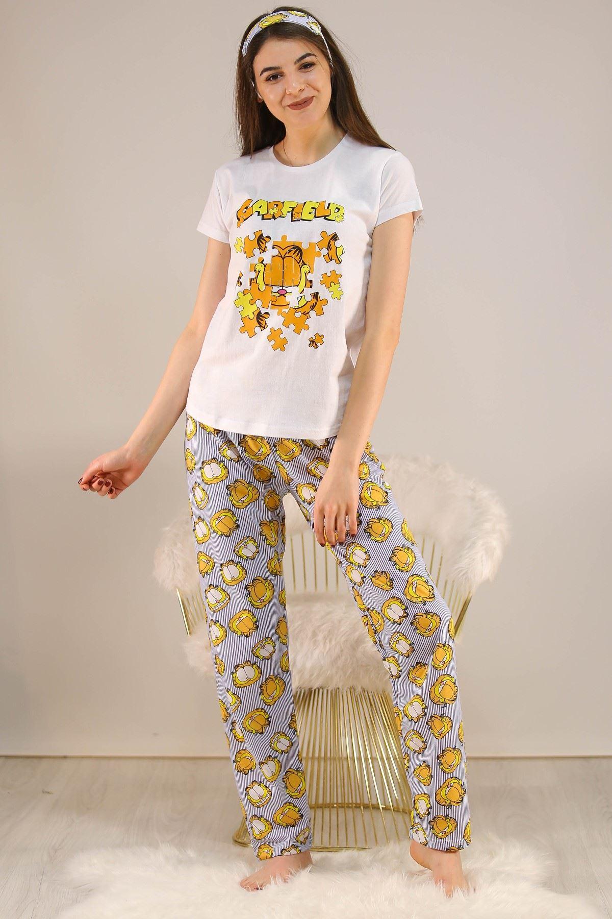 Baskılı Pijama Takımı Beyaz - 21054.1059.