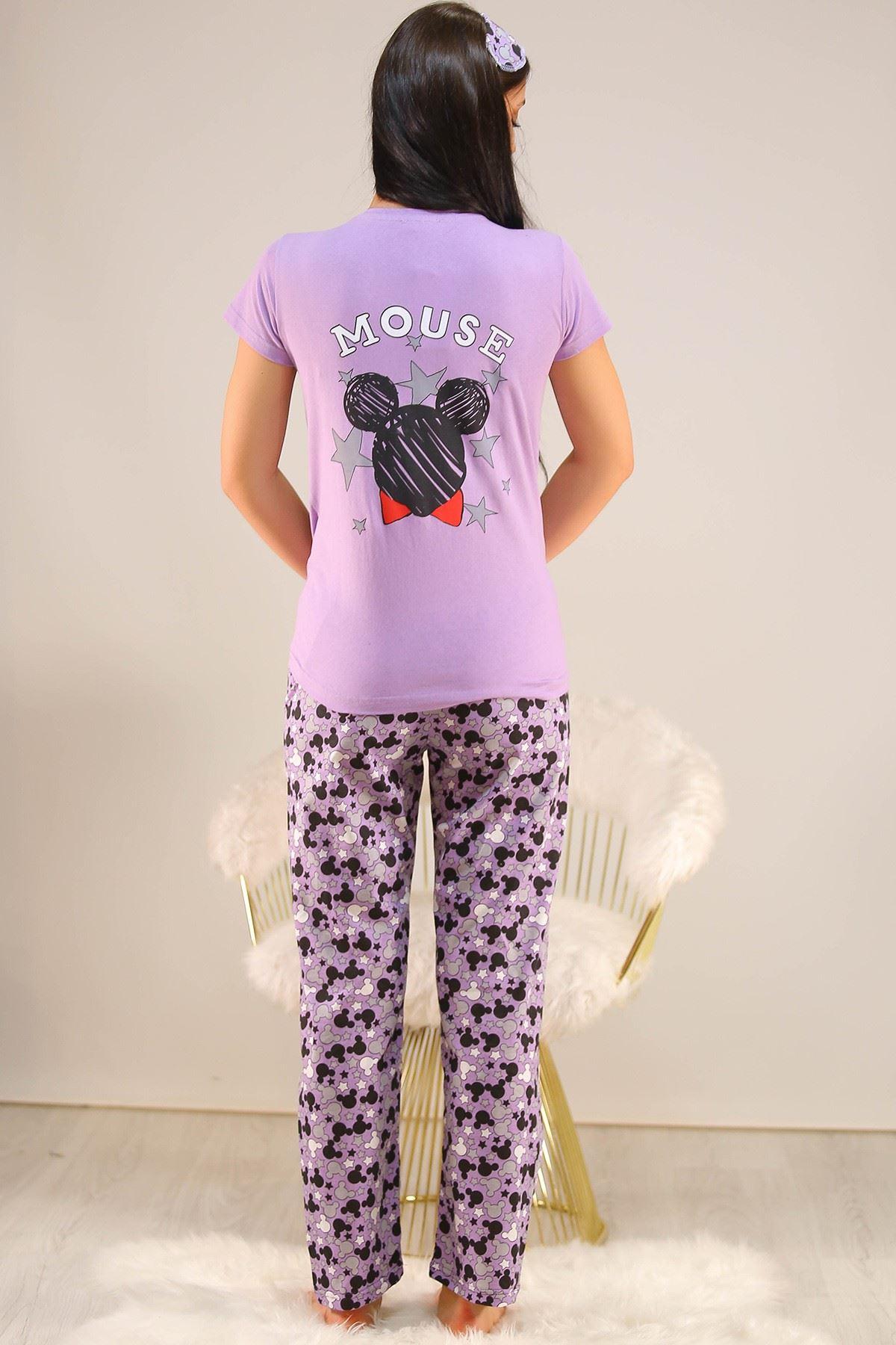 Baskılı Pijama Takımı Lila - 21639.1059.