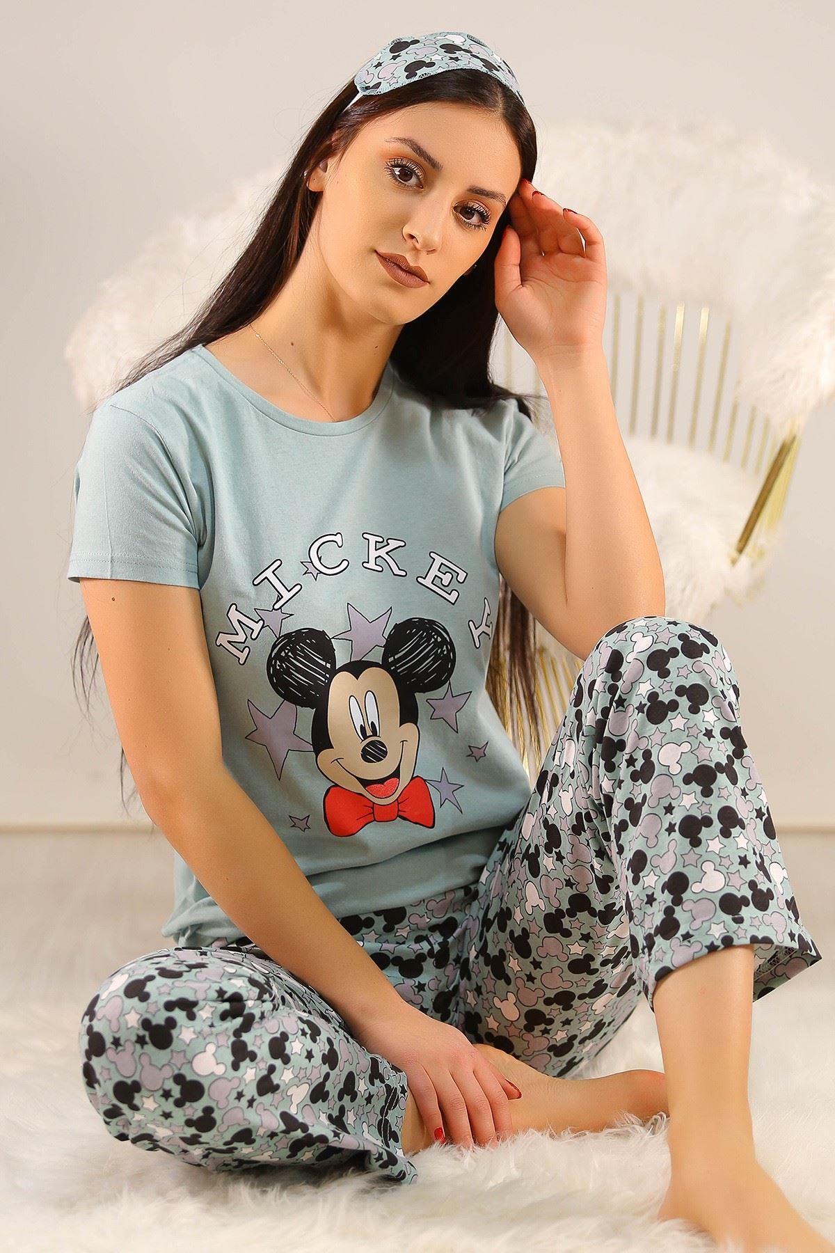Baskılı Pijama Takımı Suyeşili - 21639.1059.