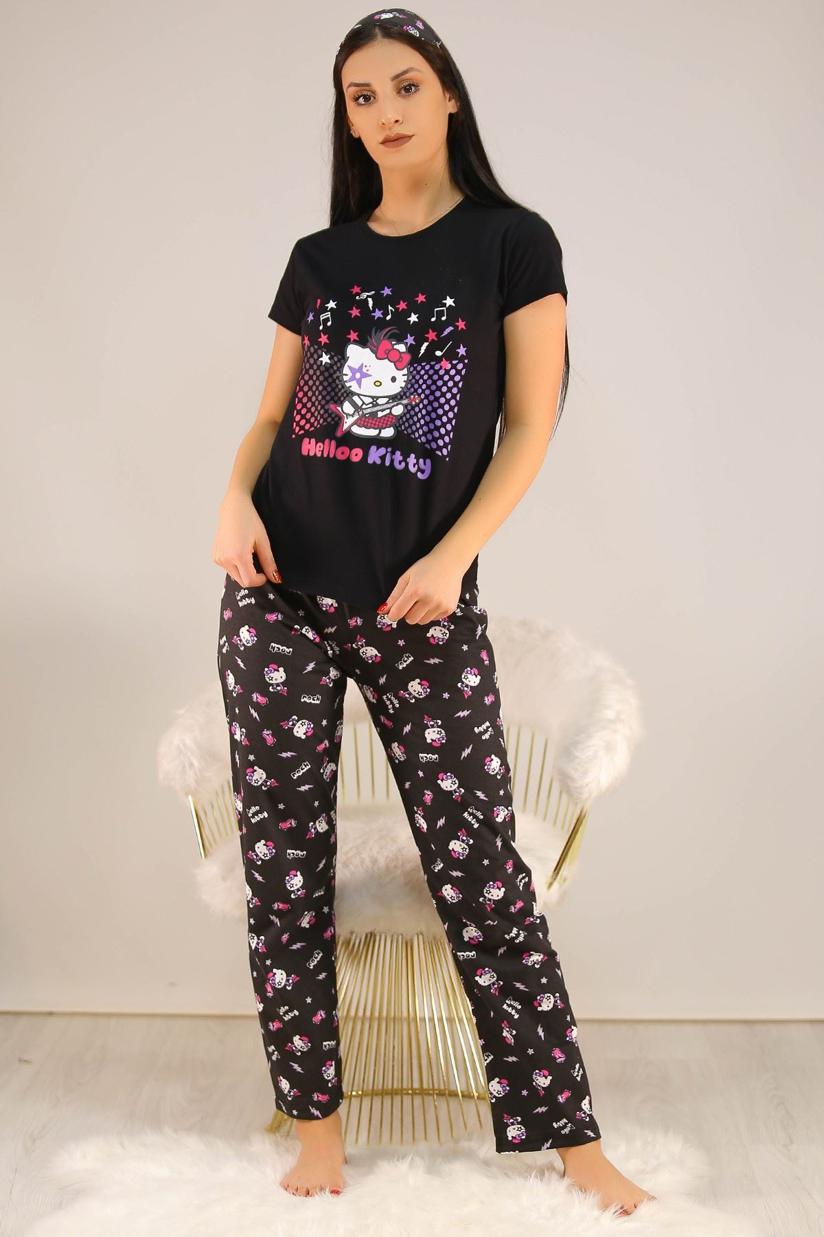 Baskılı Pijama Takımı Siyah - 21880.1059.