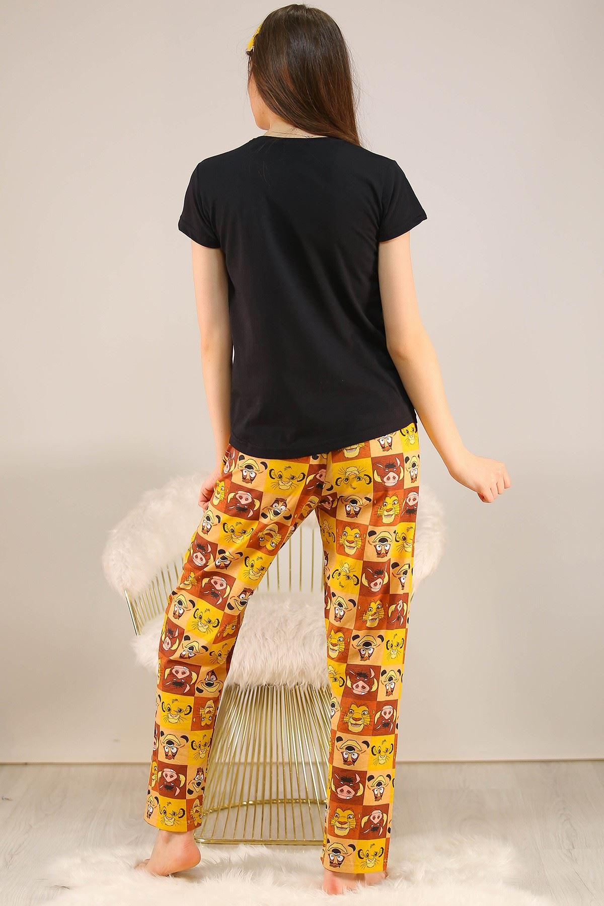 Baskılı Pijama Takımı Siyah - 21911.1059.
