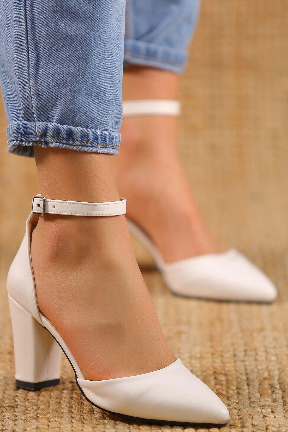 7 Cm Topuklu Ayakkabı Beyaz - 5178.264.
