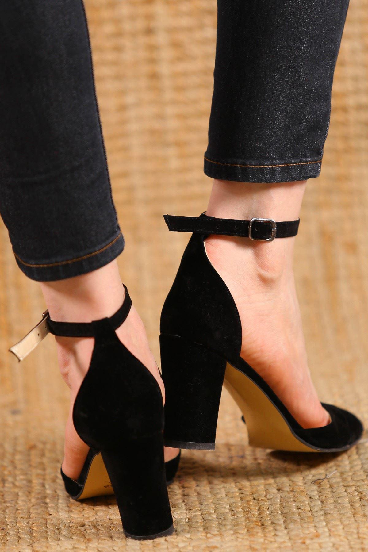 7 Cm Topuklu Ayakkabı Süetsiyah - 5178.264.