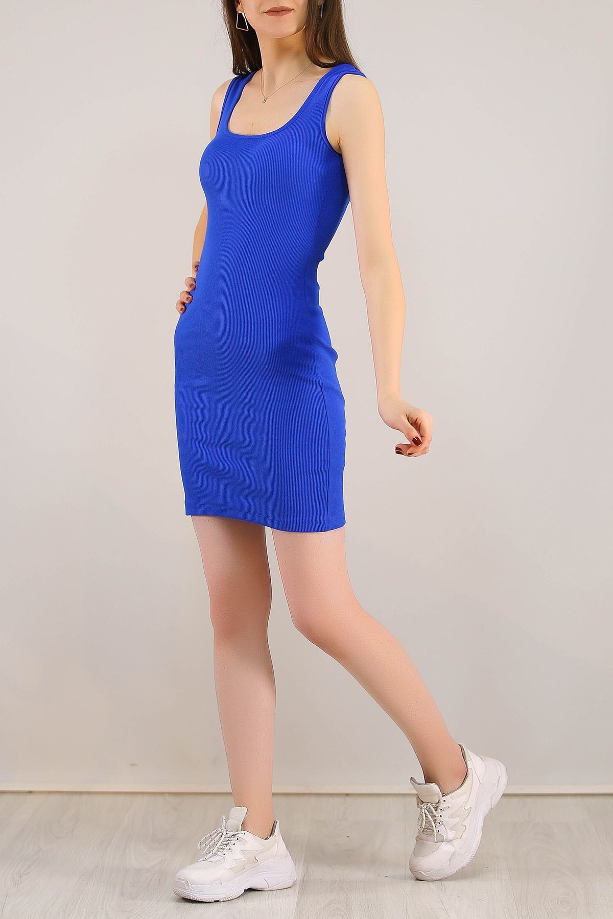 Kaşkorse Sıfır Kol Elbise Saks - 5188.316.