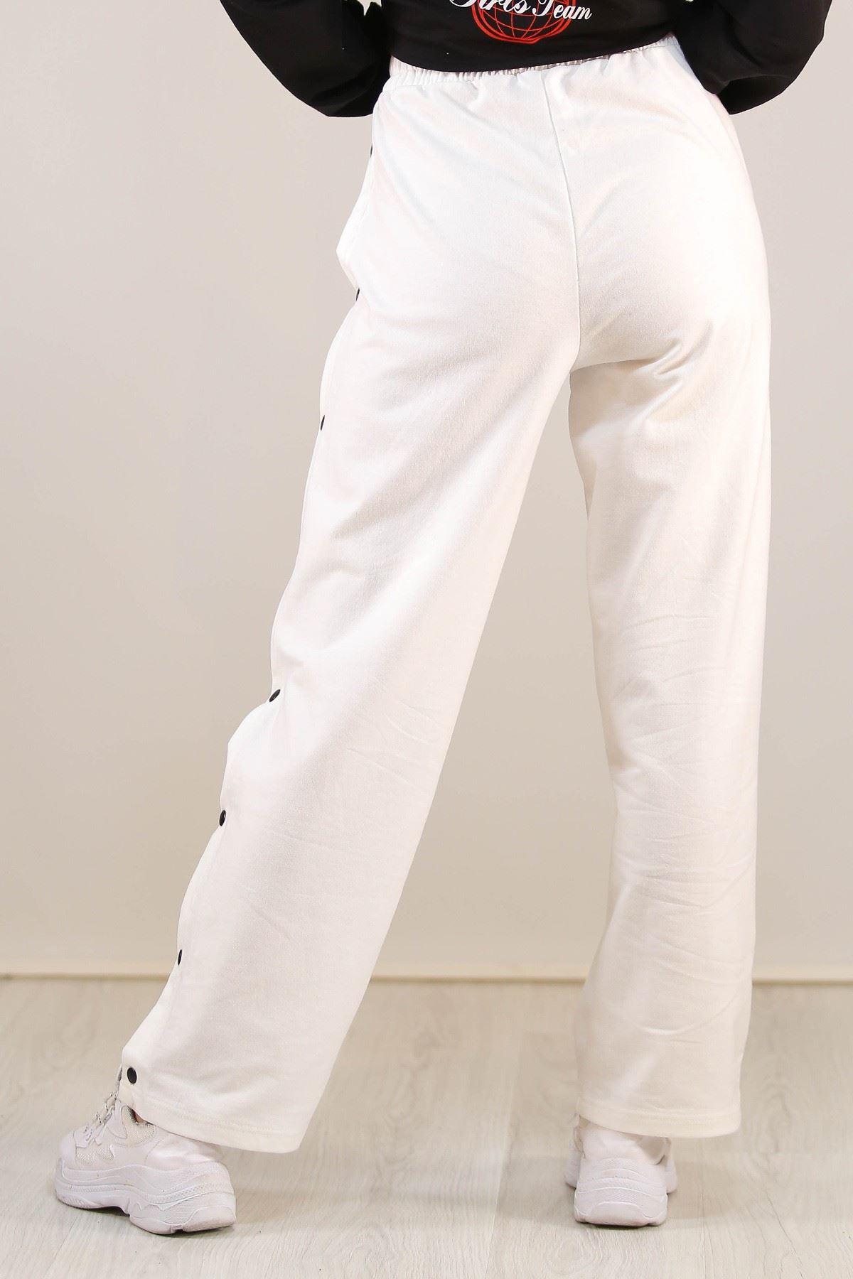 Çıtçıtlı Eşofman Altı Beyaz - 5195.1254.