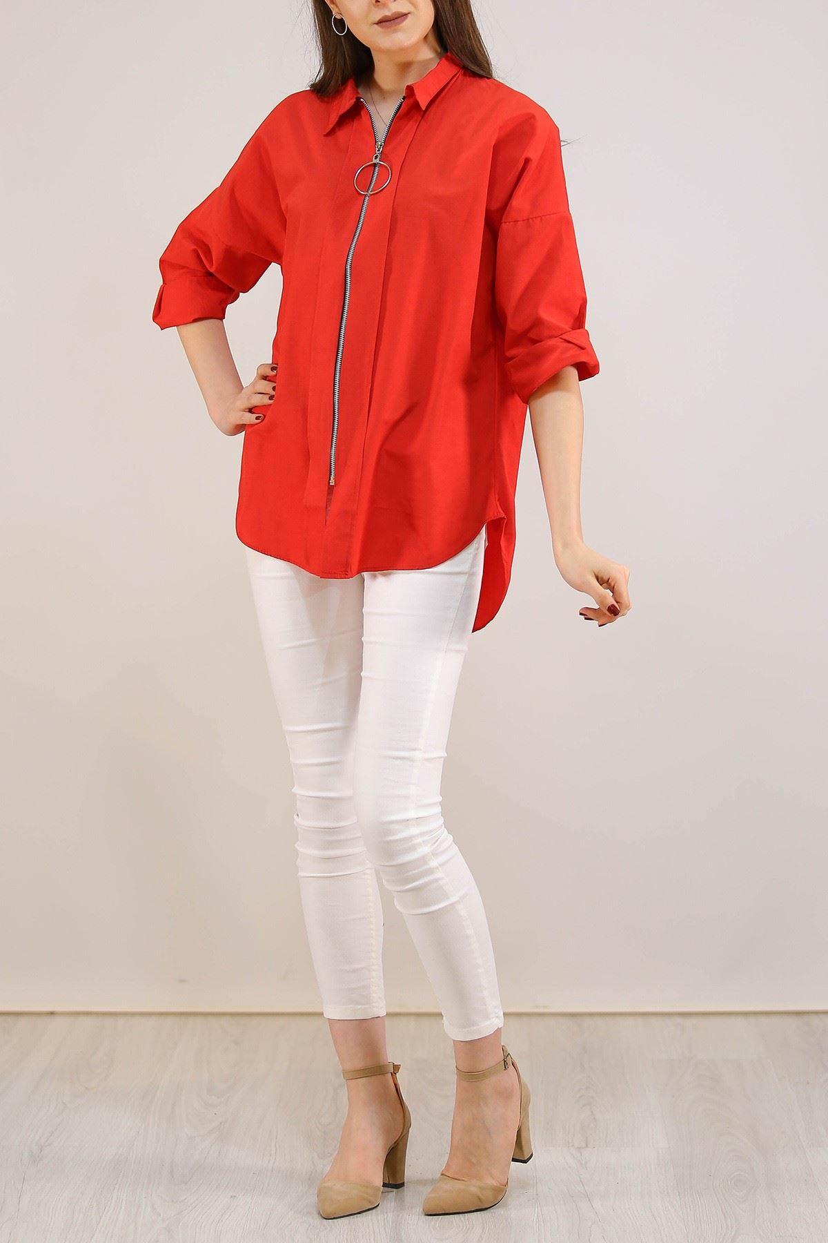 Fermuarlı Gömlek Kırmızı - 2580.105.