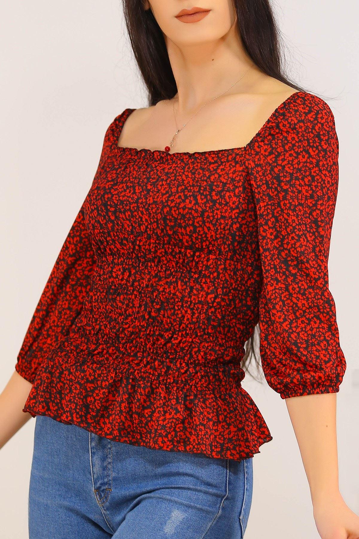 Gipeli Bluz Kırmızıçiçekli - 5203.224.