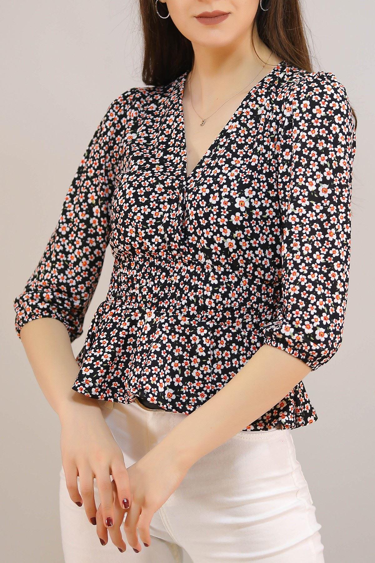 Kruvaze Bluz Siyahbeyaz - 5208.224.