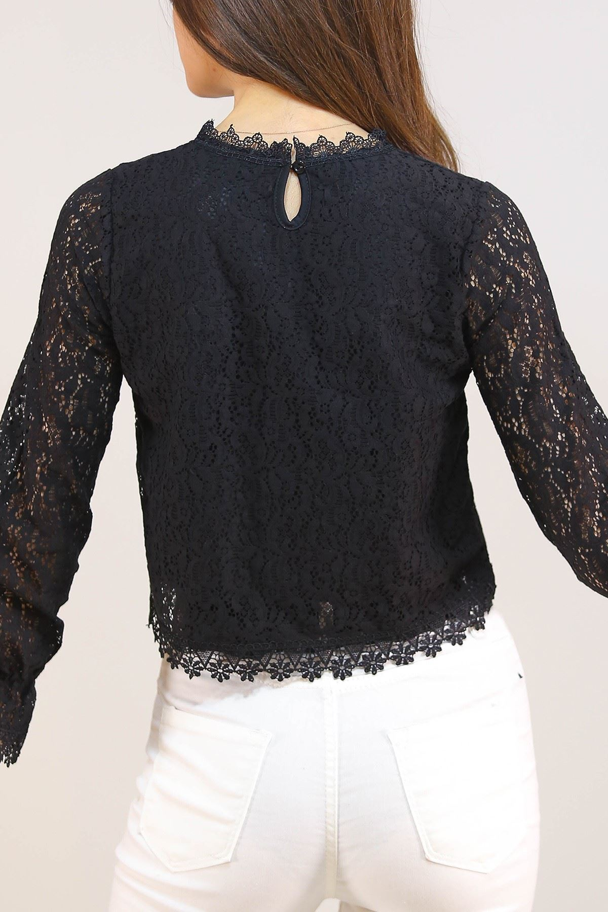 Dantelli Bluz Siyah - 5210.224.