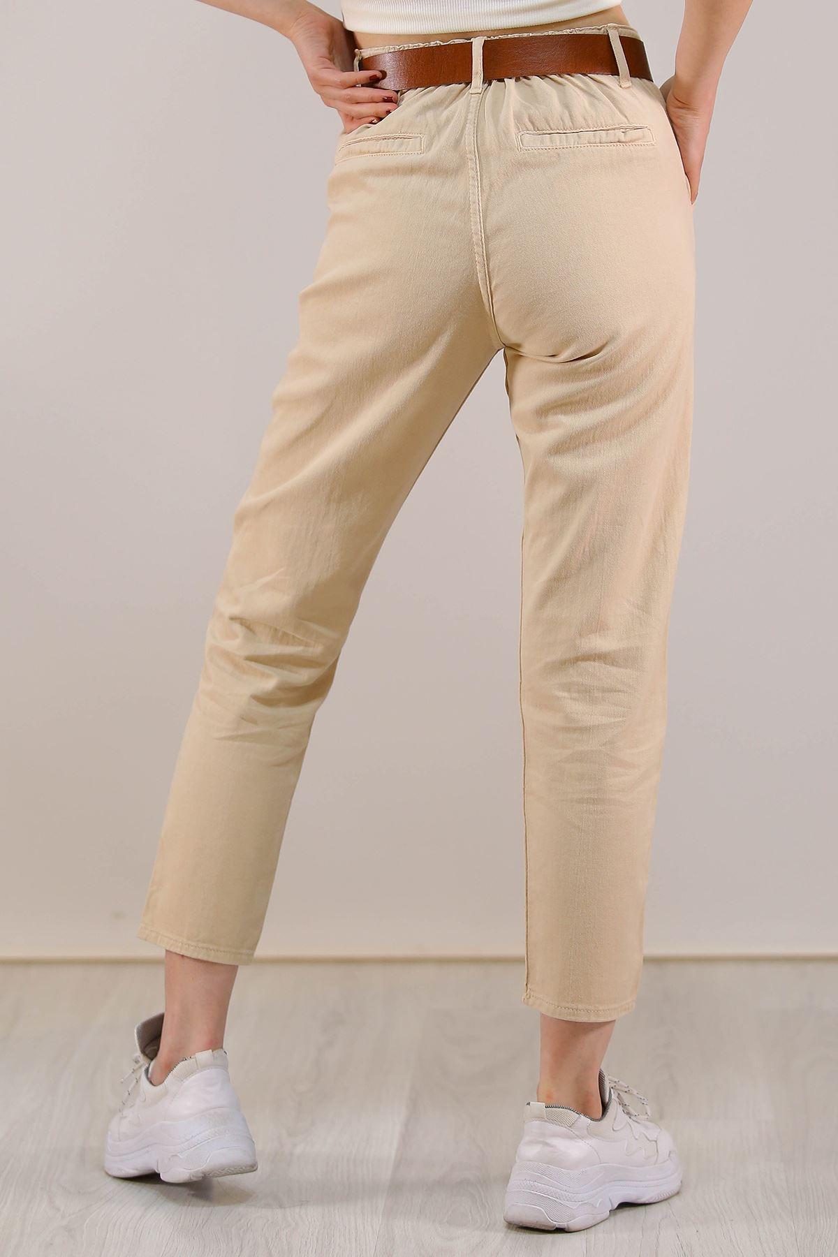 Kemerli Mom Pantolon Taş - 5216.299.