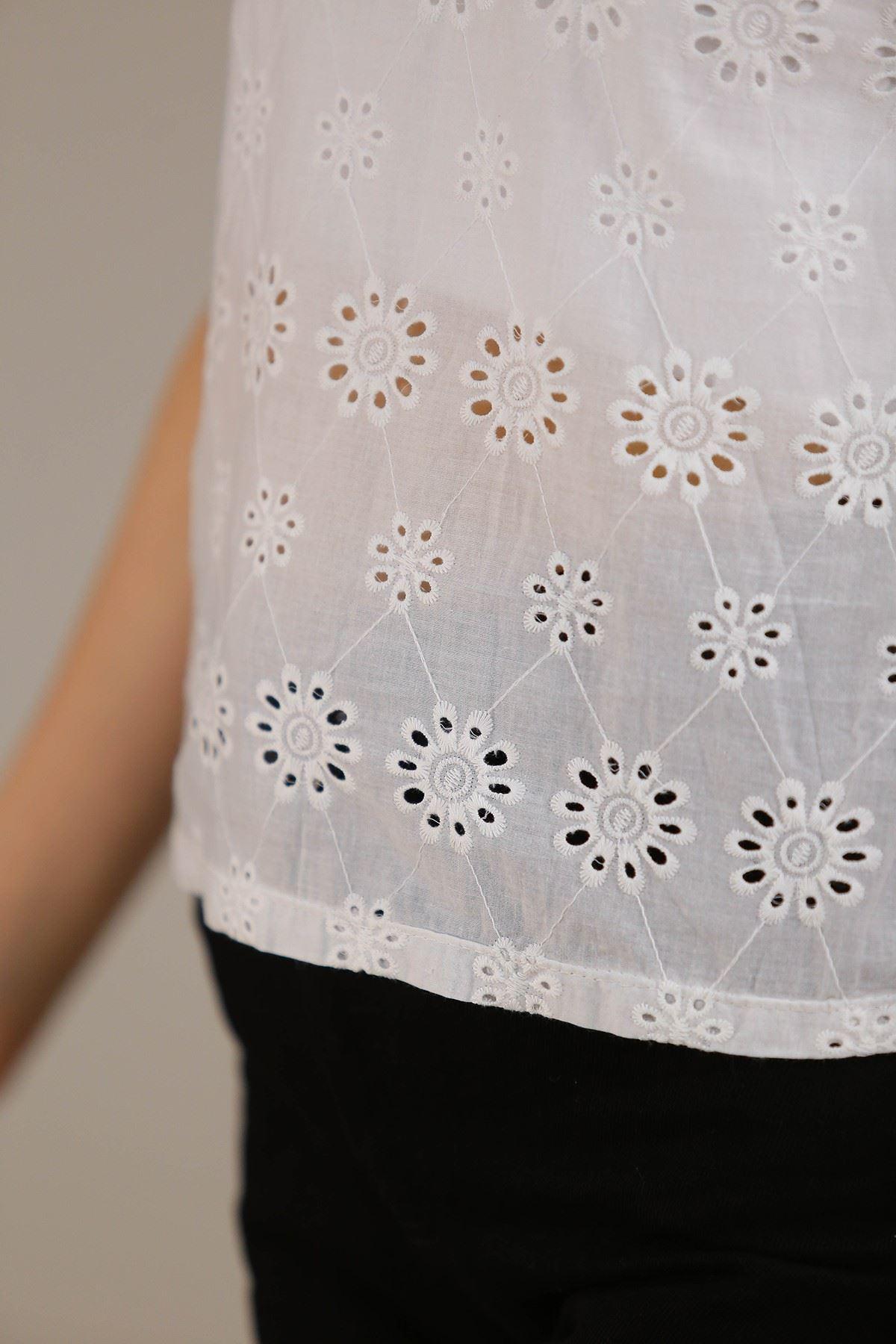 Güpürlü Bluz Beyaz - 5226.631.