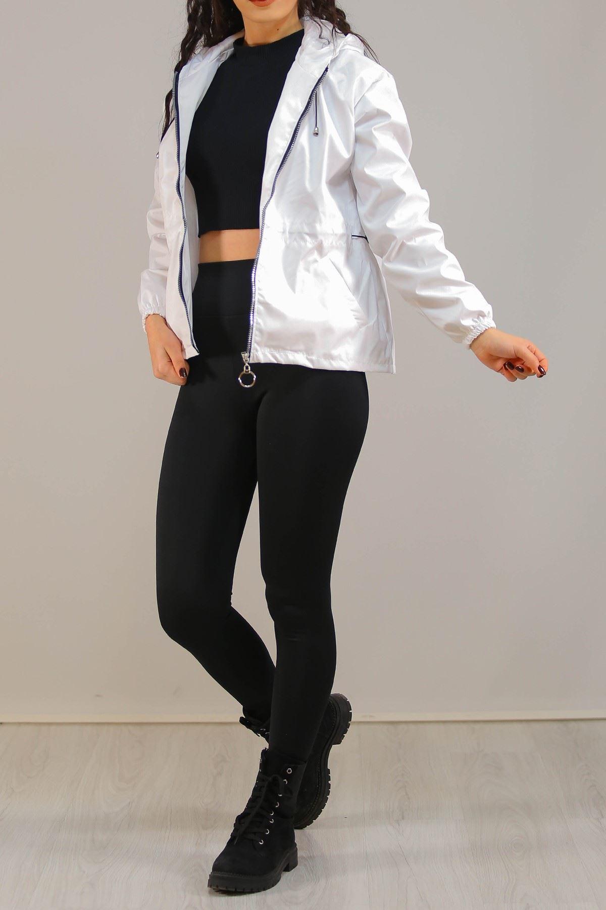 Kapşonlu Fermuarlı Ceket Beyaz - 5230.240.