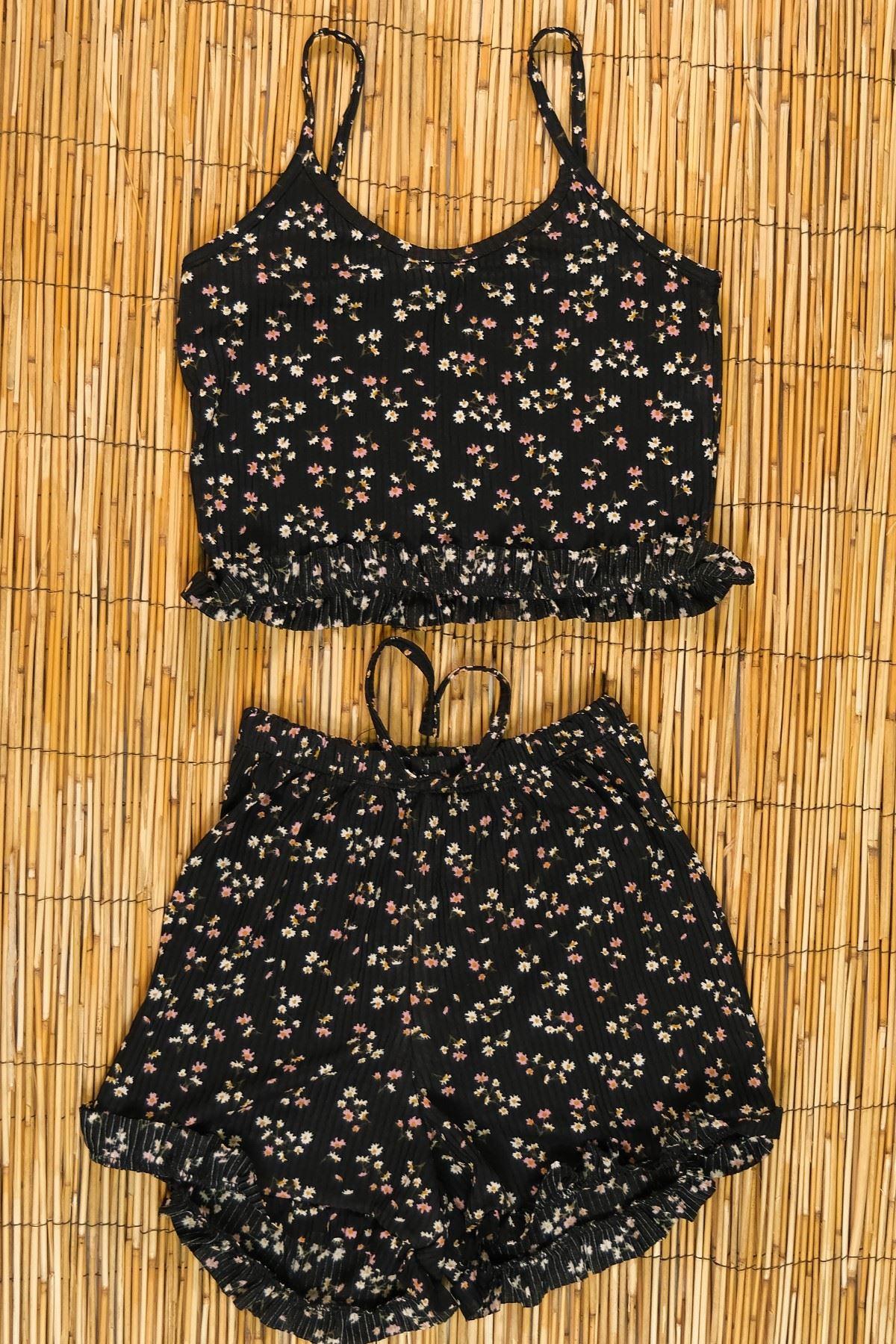 Şortlu Takım Siyahçiçekli - 5237.751.