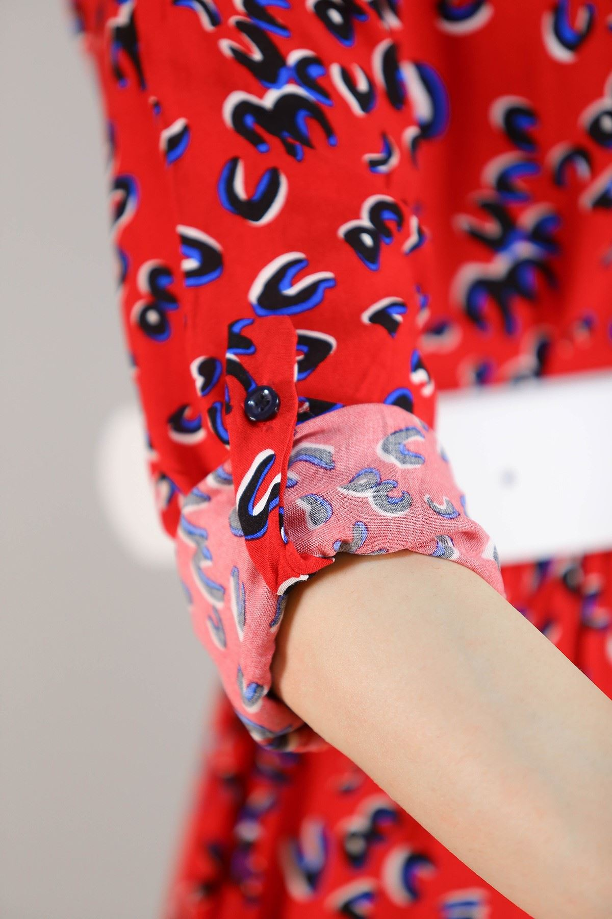 Katlama Kol Elbise Desenlikırmızı - 4807.701.