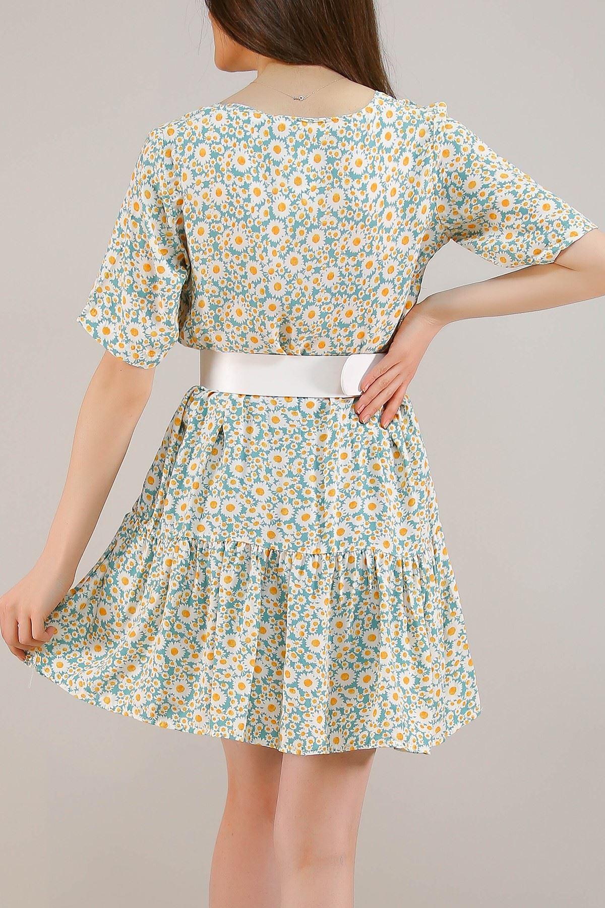 Çerçeve Yaka Kısa Elbise Mintbeyaz - 5221.701.