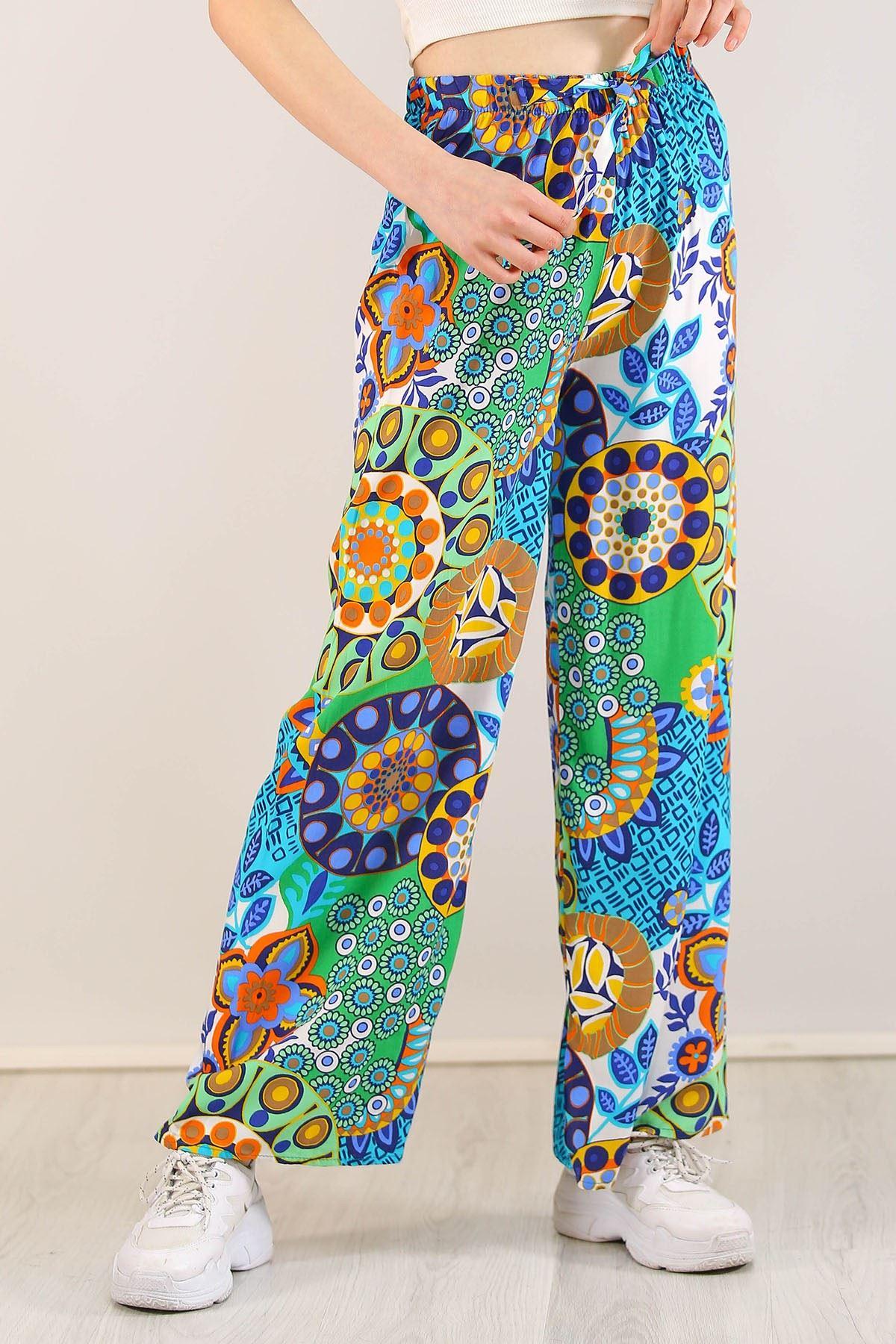 Desenli Bol Pantolon Yeşilrenkli - 0753.128.