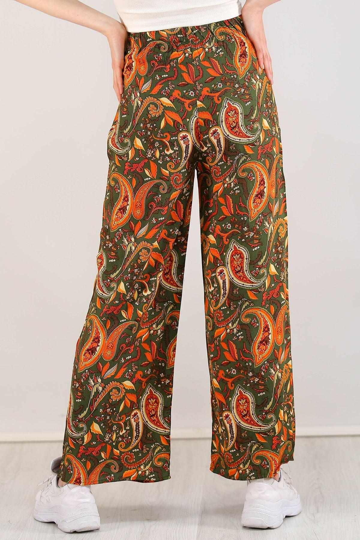 Desenli Bol Pantolon Yeşilturuncu - 0753.128.