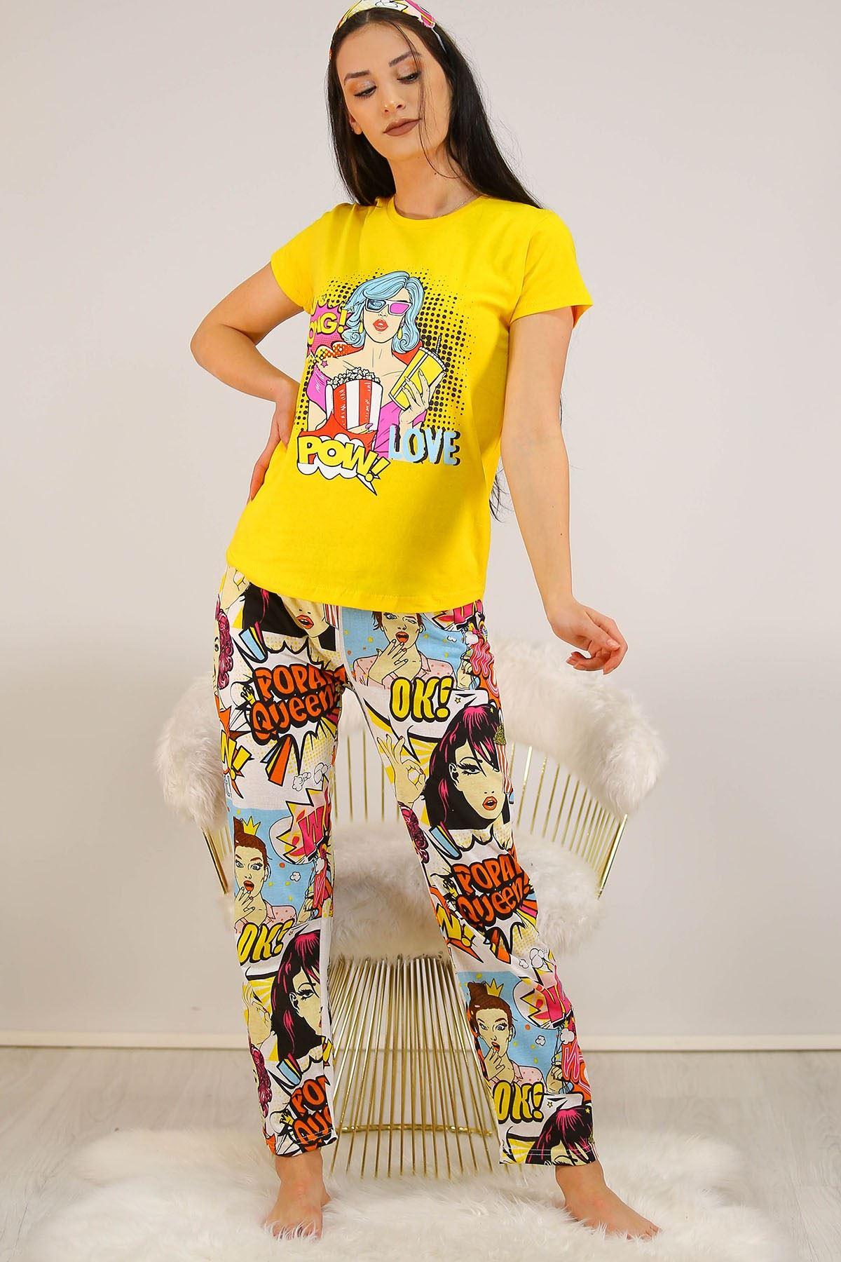 Baskılı Pijama Takımı Sarı - 21123.1059.