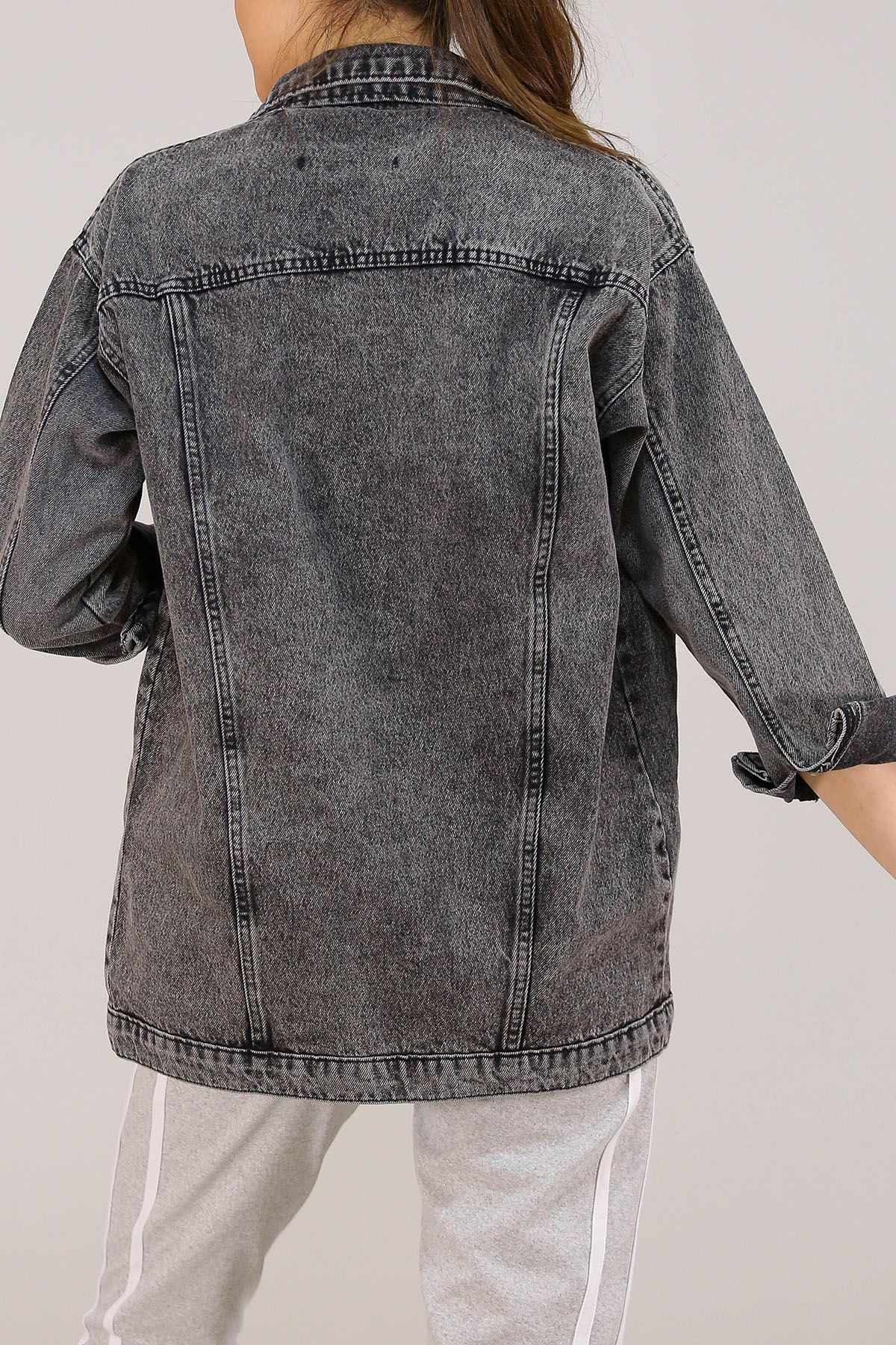 Yırtıklı Boyfrend Kot Ceket Karyıkama - 0833.925.