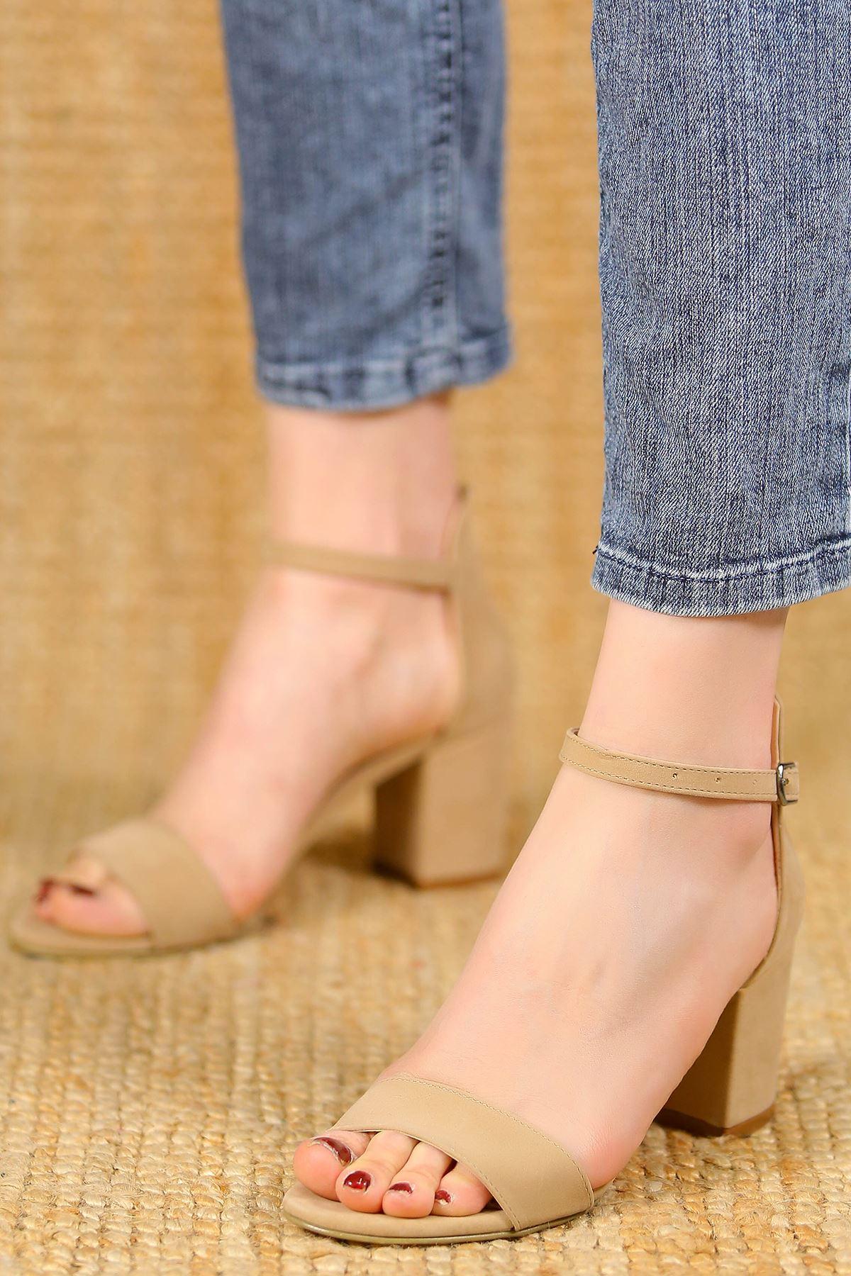 7Cm Topuklu Ayakkabı Süetbej - 5181.264.