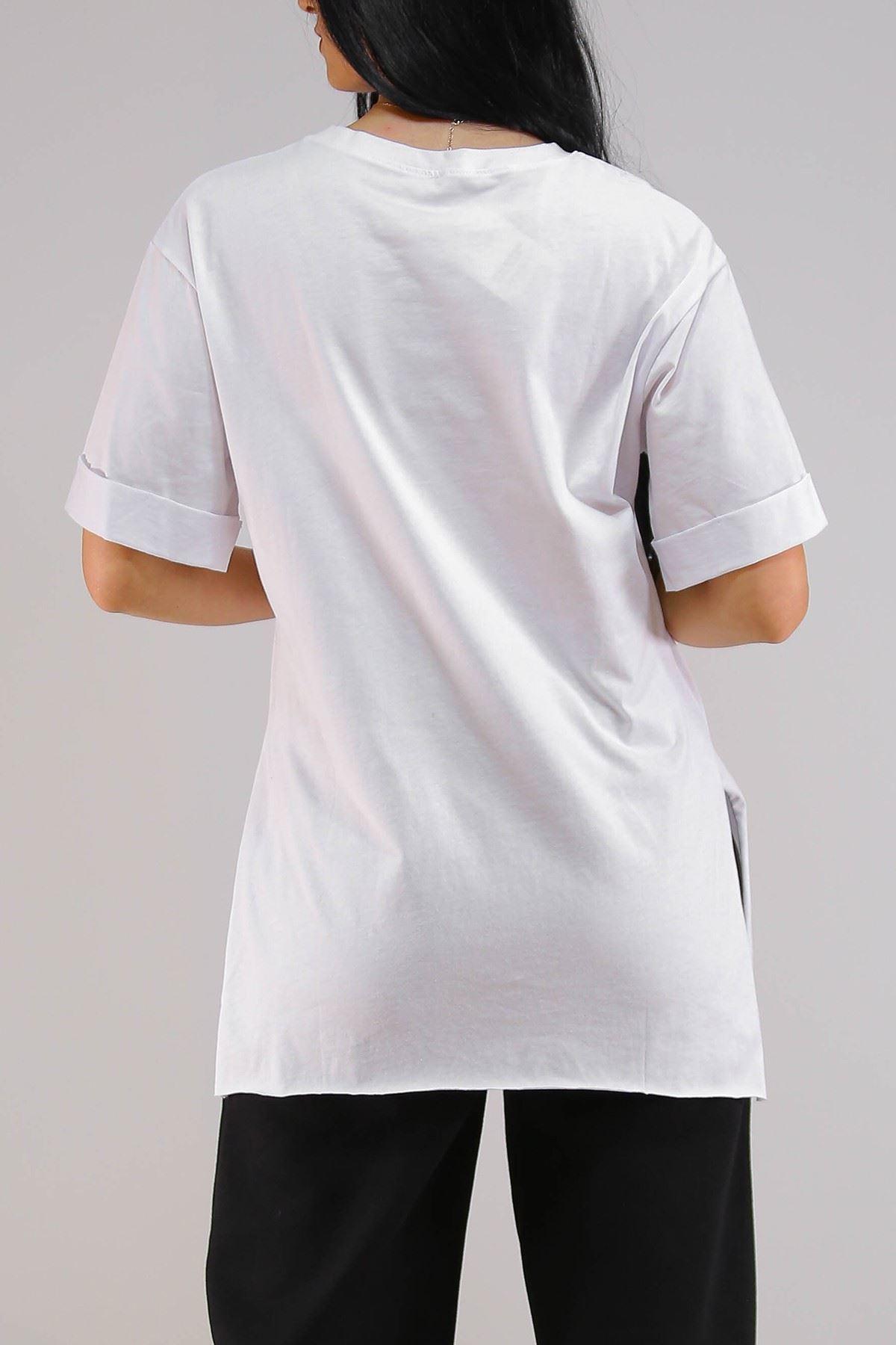 Duble Kol Tişört Beyaz - 5270.1247.