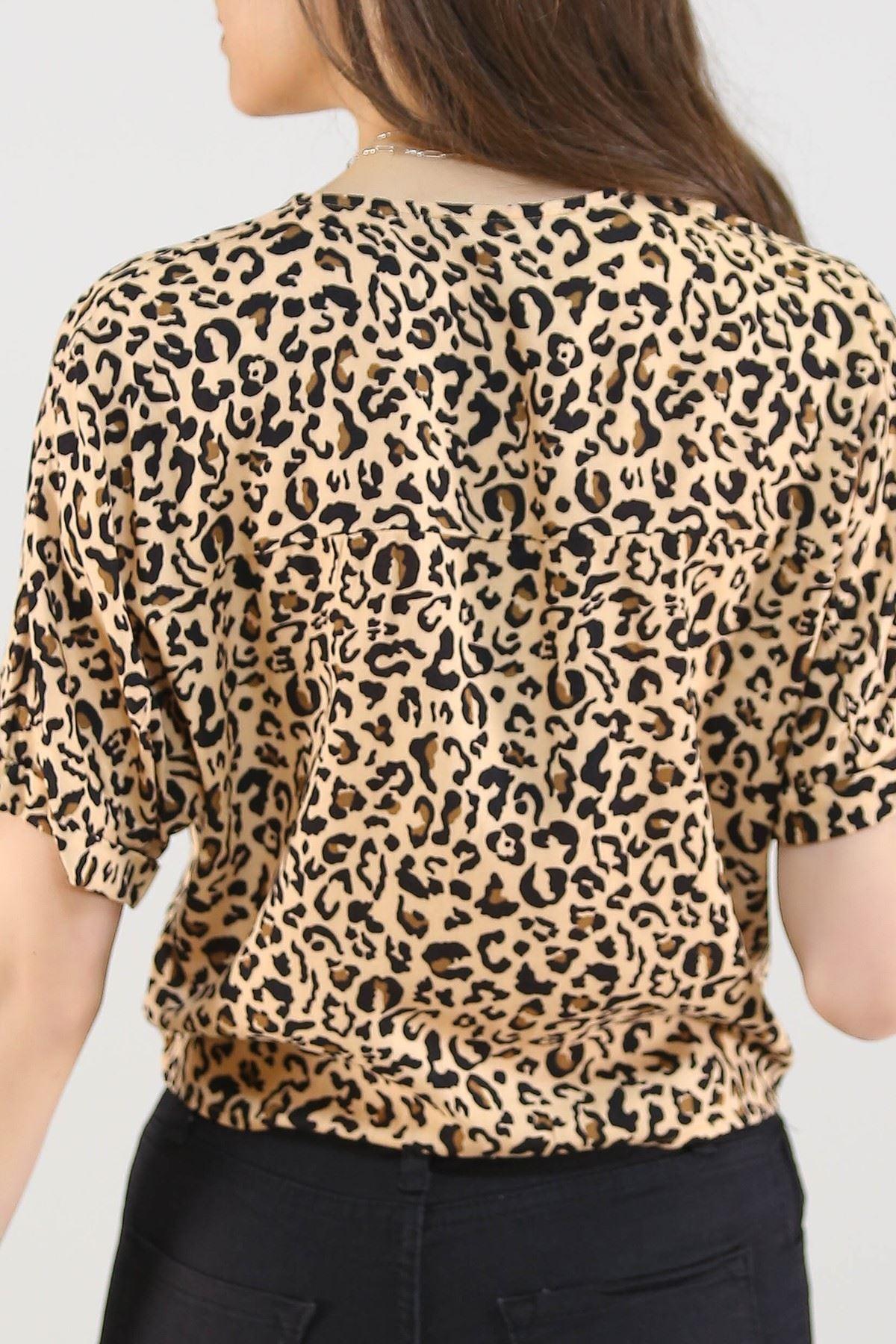 Eteği Bağlamalı Gömlek Leopar - 20005.200.