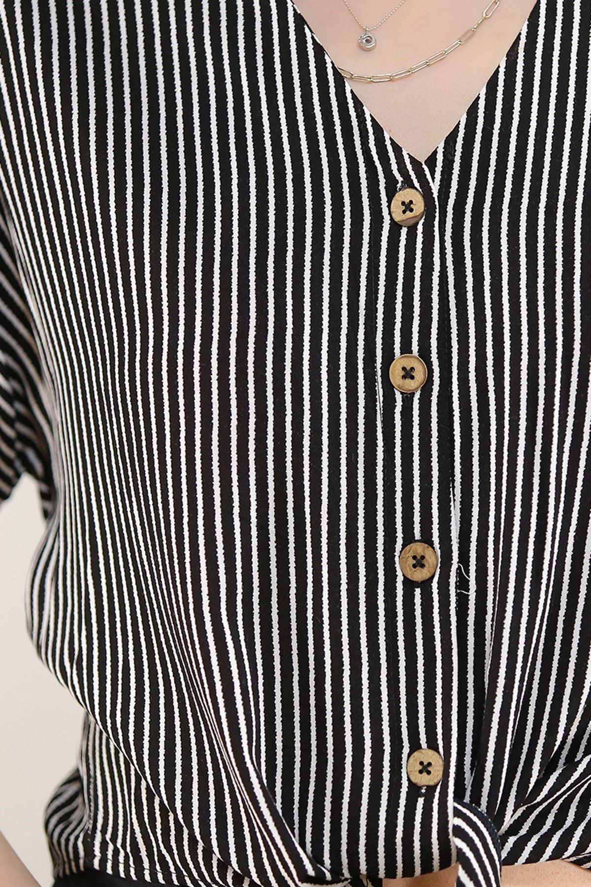 Eteği Bağlamalı Gömlek Siyahçizgili - 20005.200.
