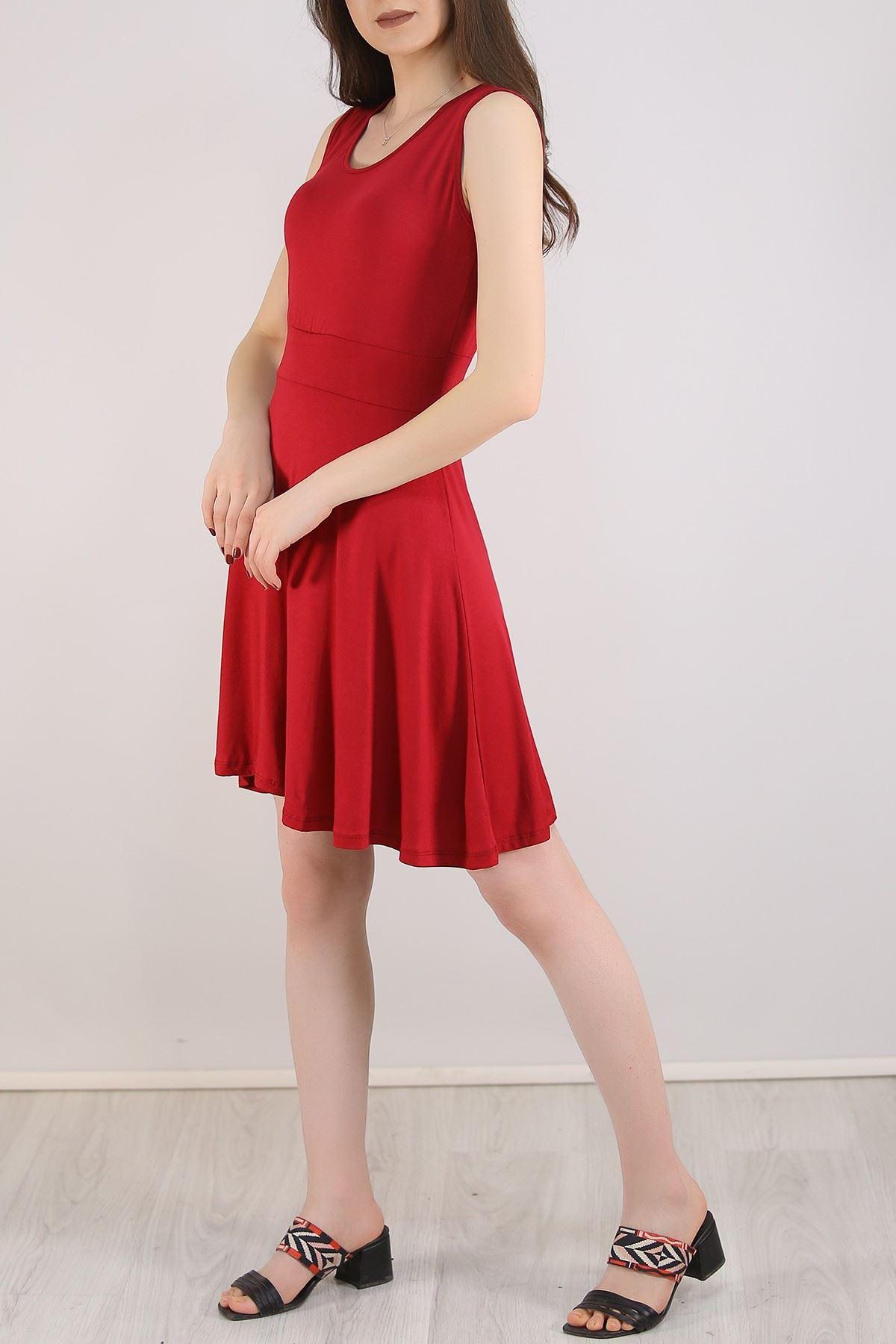 Sıfır Kol Kloş Elbise Bordo - 5430.716.
