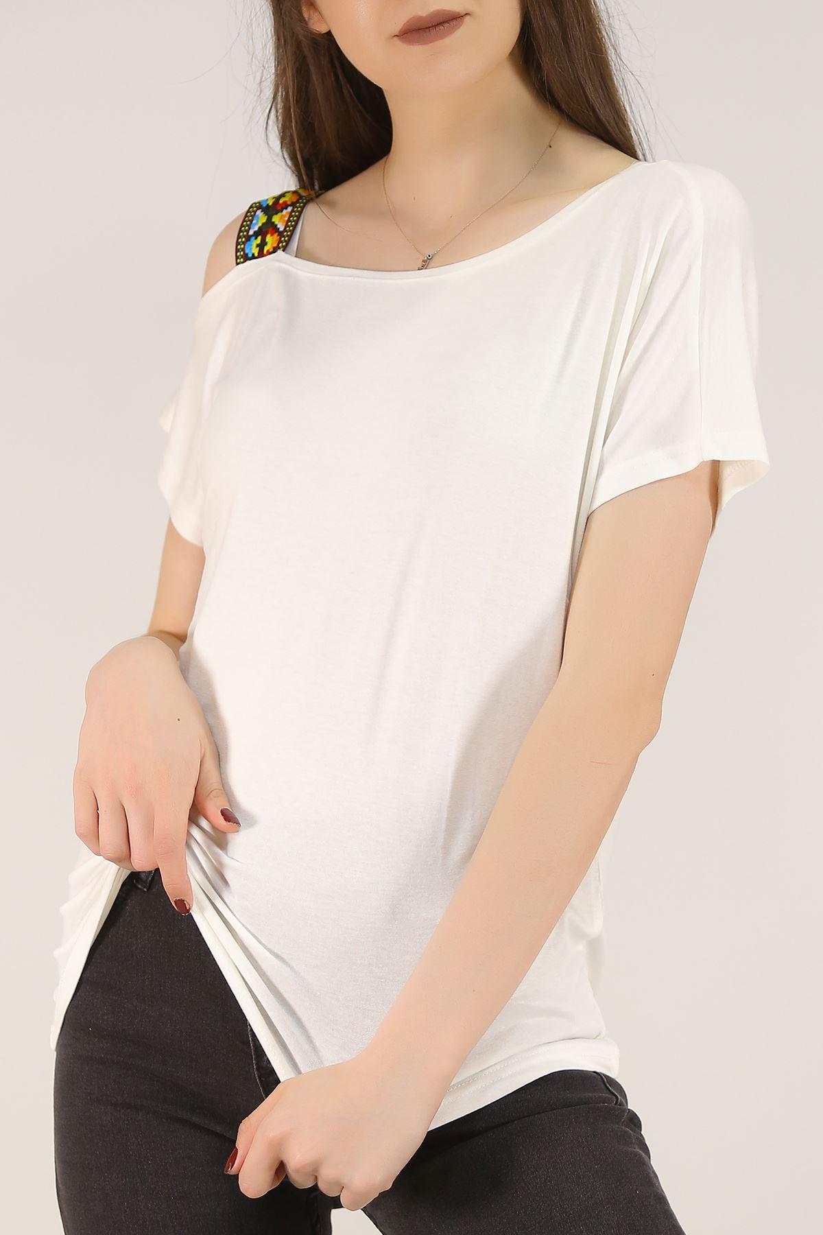 Omuzu Tek Askılı Bluz Beyaz - 1171.1095.