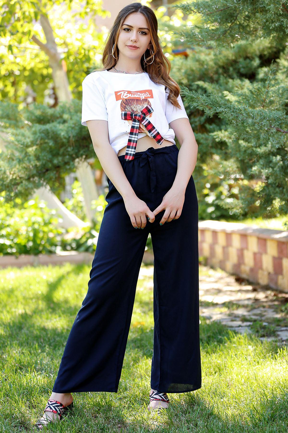 Kemerli Trend Bol Pantolon Lacivert - 0752.128. Toptan