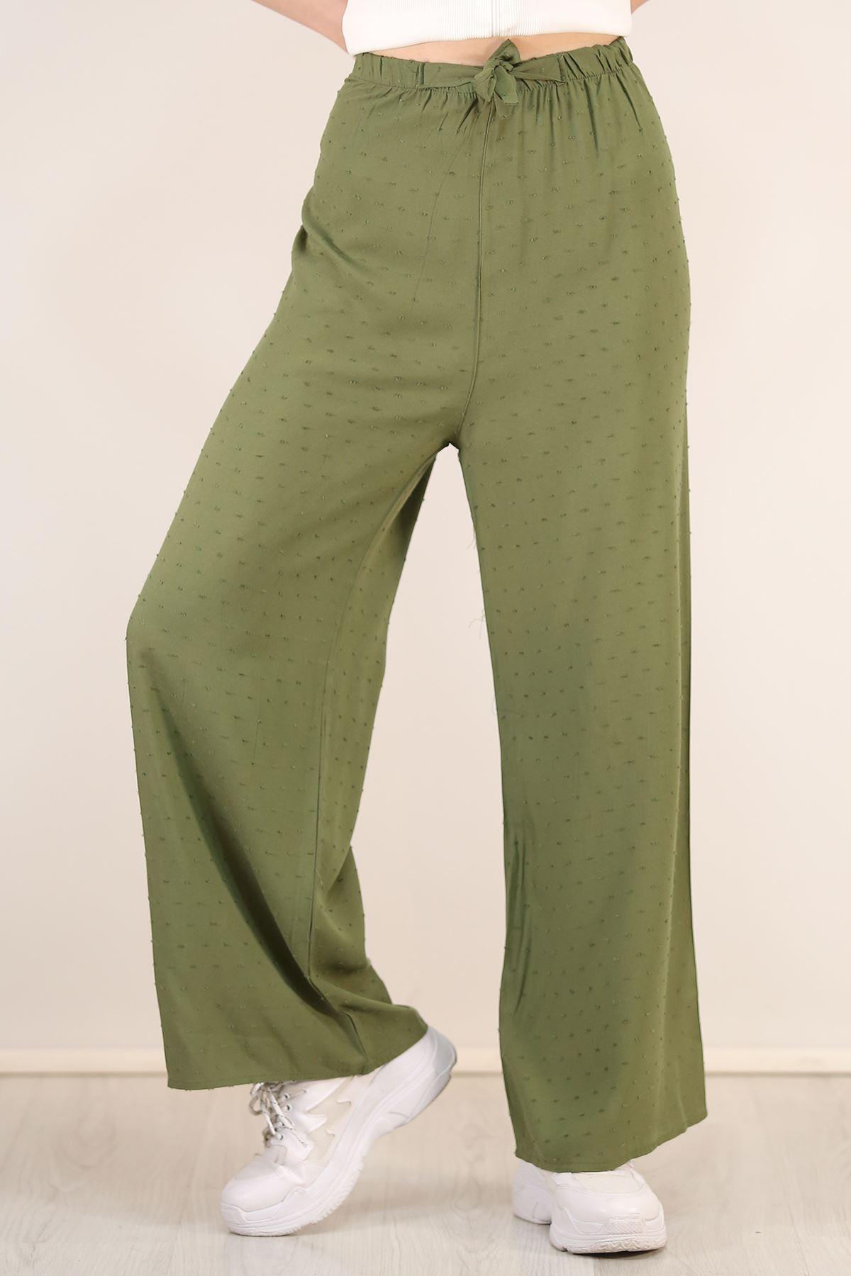 Kemerli Trend Bol Pantolon Noktalıyeşil - 0752.128. Toptan