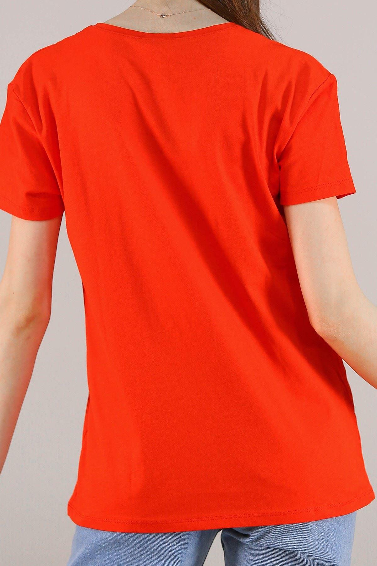 Baskılı Pullu Tişört Kırmızı - 5012.336. Toptan