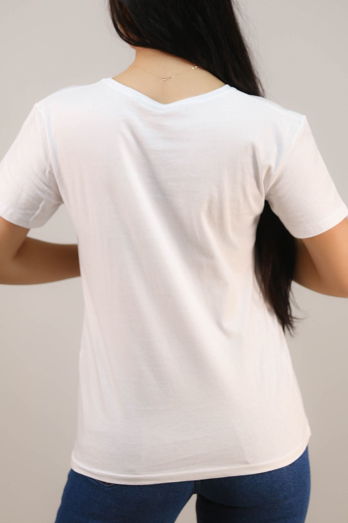 Nakışlı Tişört Beyaz - 4997.336. Toptan