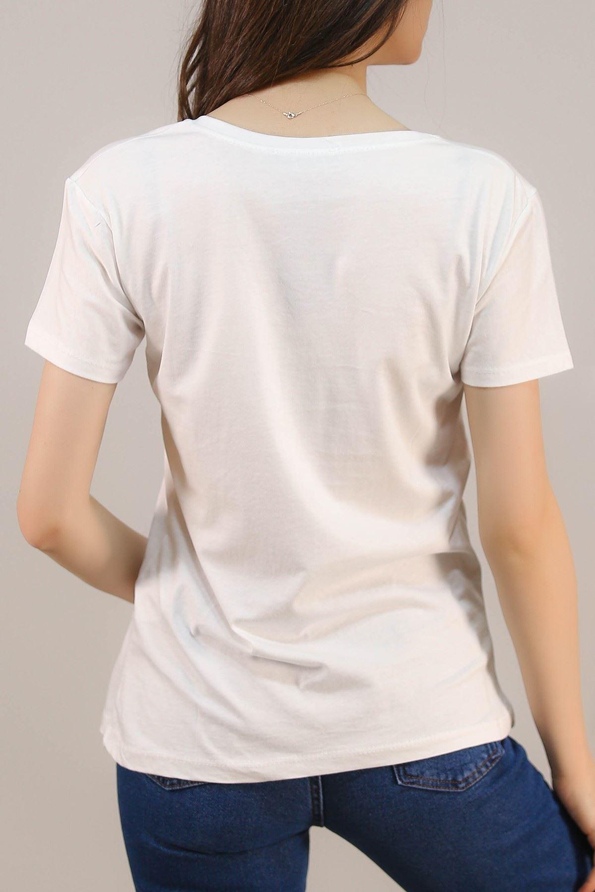 Nakışlı Tişört Beyaz - 5001.336. Toptan