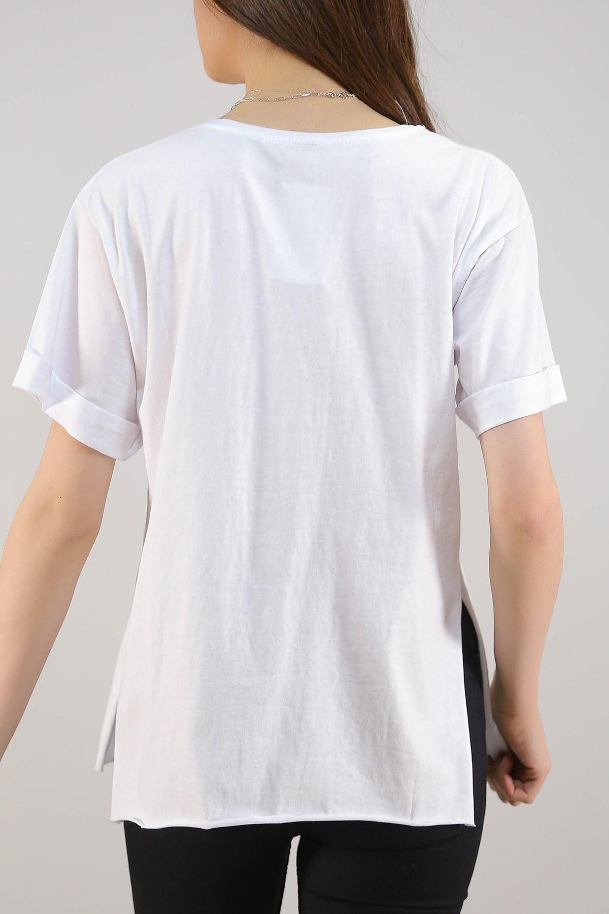 Baskılı Tişört Beyaz - 5076.275. Toptan