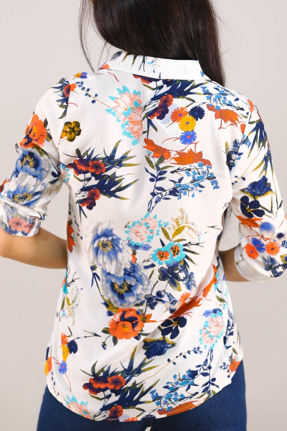 Desenli Gömlek Beyazçiçekli - 5087.128. Toptan