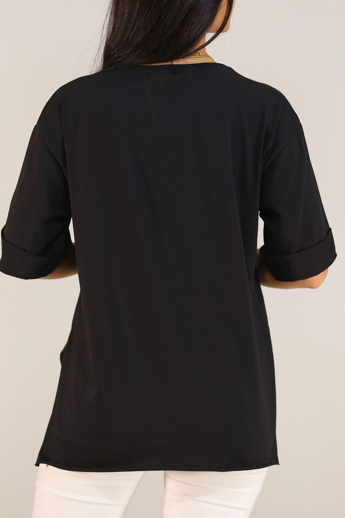 Nakışlı Duble Kol Tişört Siyah - 5158.336. Toptan