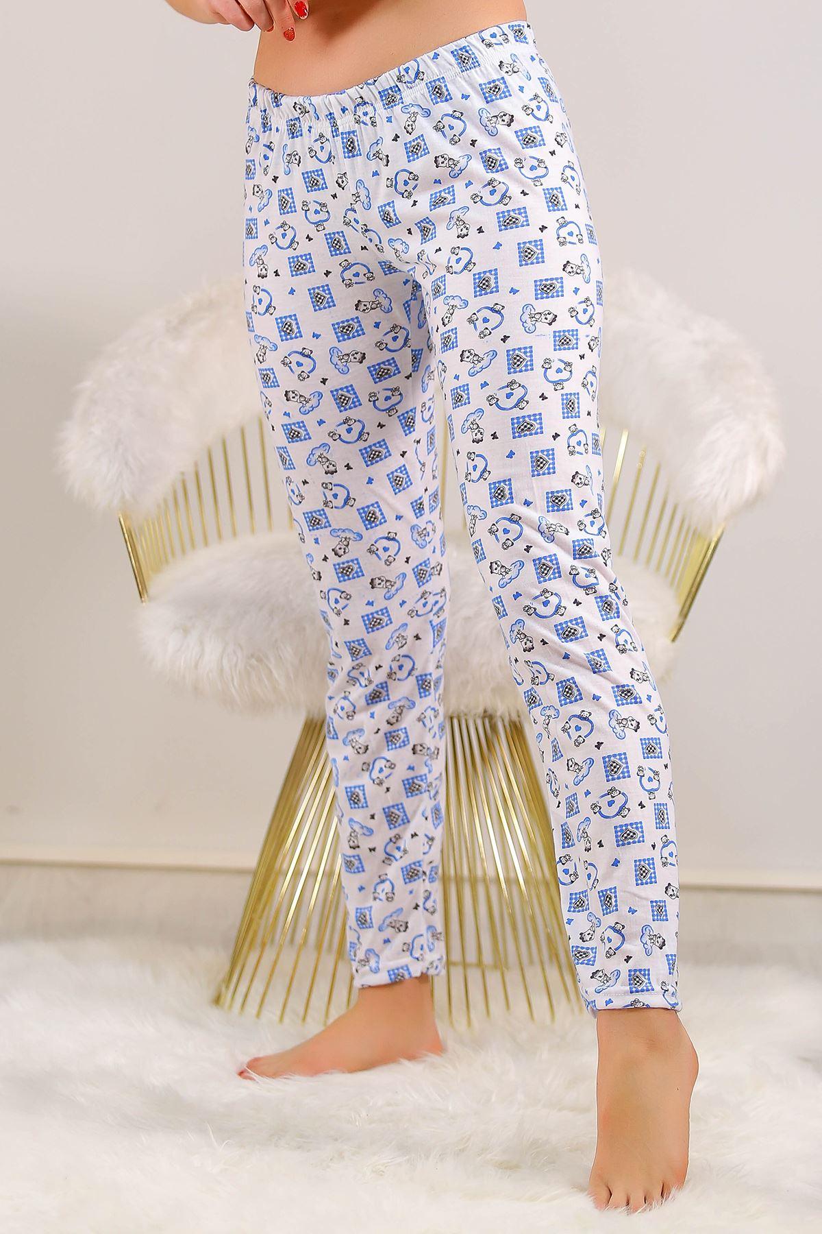 Desenli Pijama Altı Beyazmavi - 5220.1348. Toptan