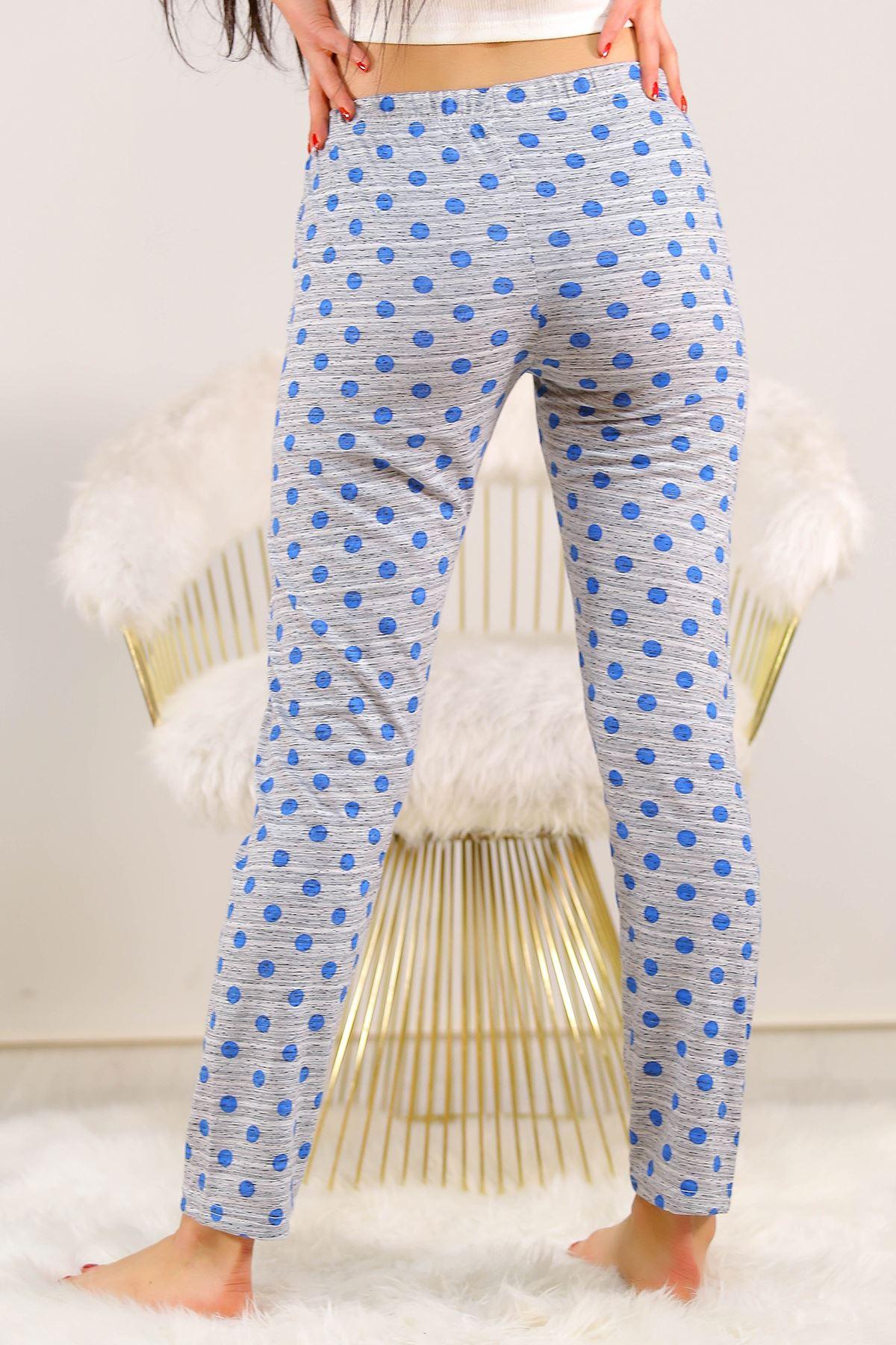 Desenli Pijama Altı Mavipuanlı - 5220.1348. Toptan