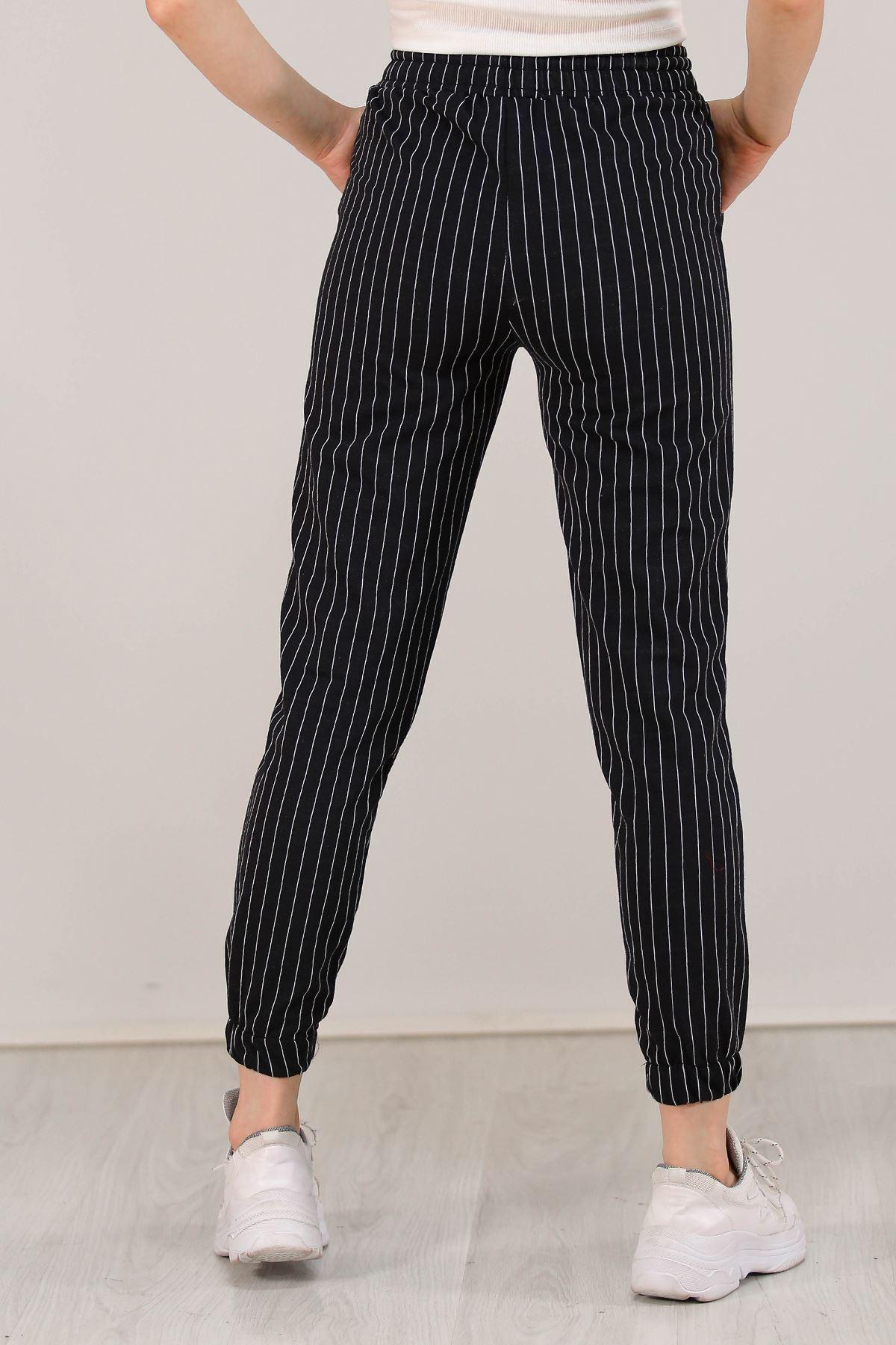 Çizgili Pantolon Siyah - 5258.1348. Toptan