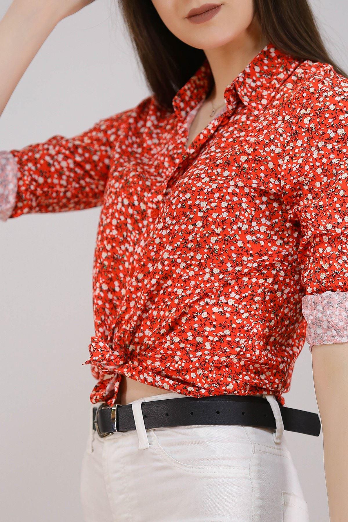 Desenli Gömlek Kırmızıçiçekli - 5087.128. Toptan