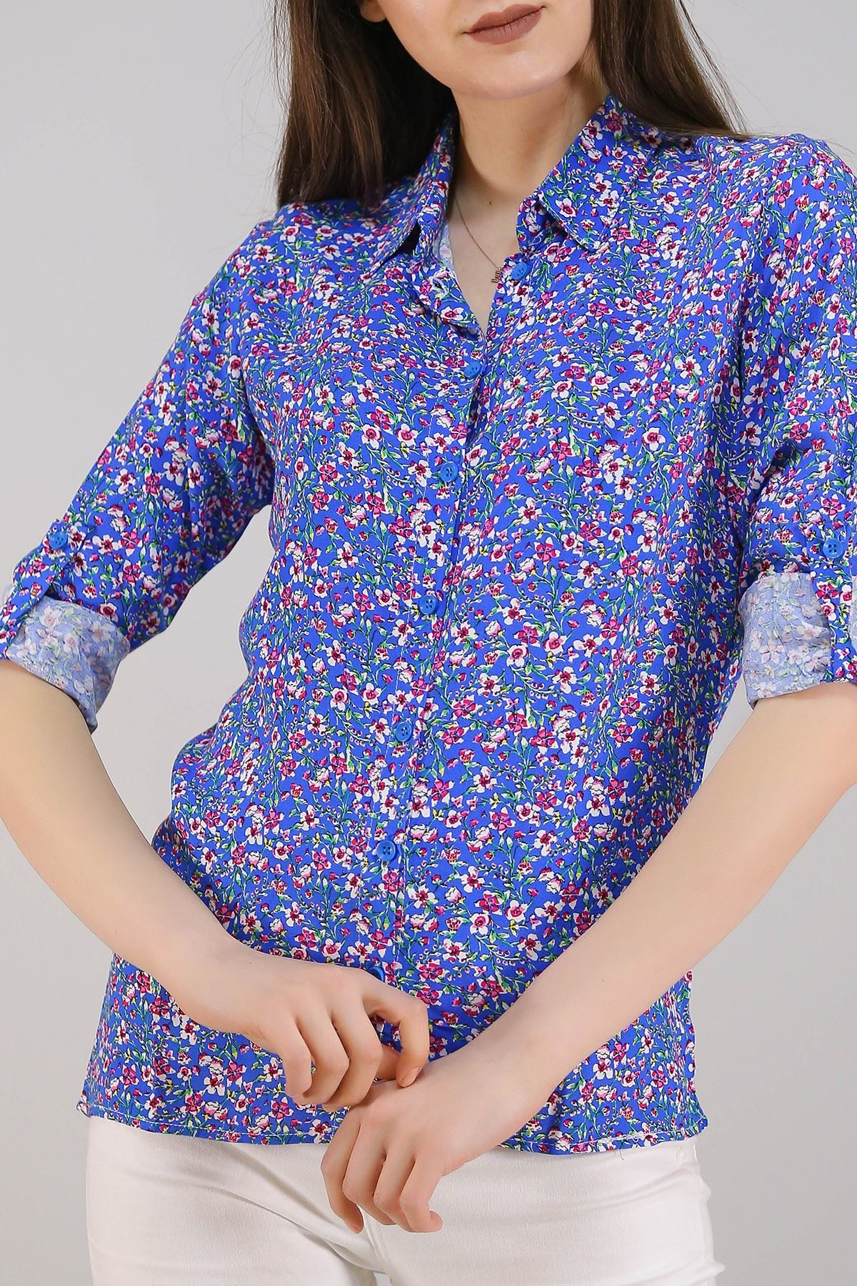 Desenli Gömlek Maviçiçekli - 5087.128. Toptan