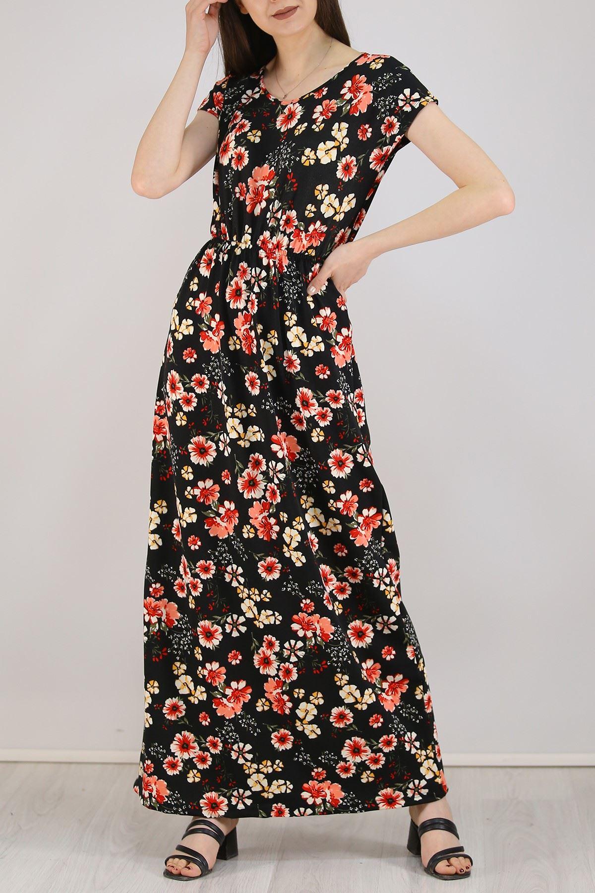 Desenli Elbise Kırmızıçiçekli - 5088.716. Toptan